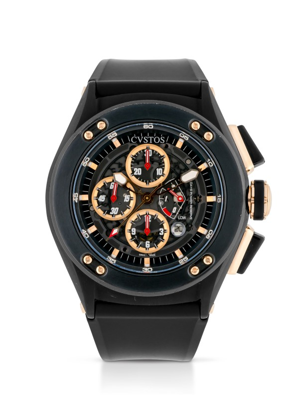 CVSTOS   CHALLENGE-R50 BLACKENED STAINLESS STEEL AND PINK GOLD CHRONOGRAPH WRISTWATCH WITH DATE AND POWER-RESERVE INDICATION CIRCA 2010