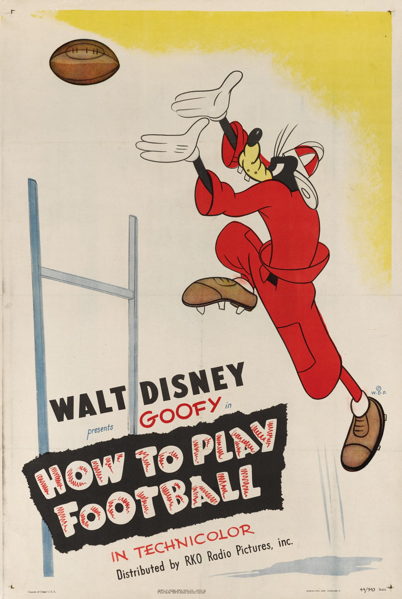 HOW TO PLAY FOOTBALL (1944) POSTER, US