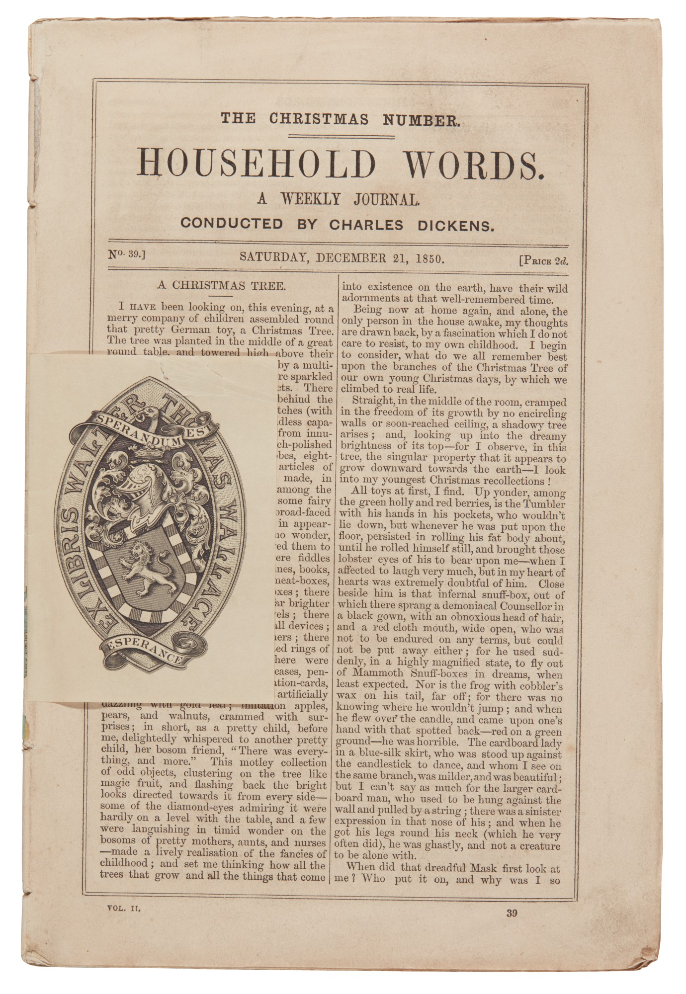 Dickens, [The Christmas Numbers from Household Words and All the Year Round], 1850-1867, original parts