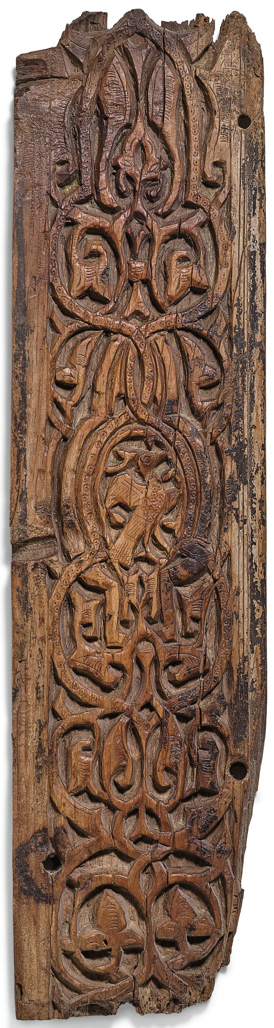 A FATIMID CARVED WOOD PANEL, PROBABLY FROM A PORTAL, EGYPT, CAIRO, 11TH CENTURY