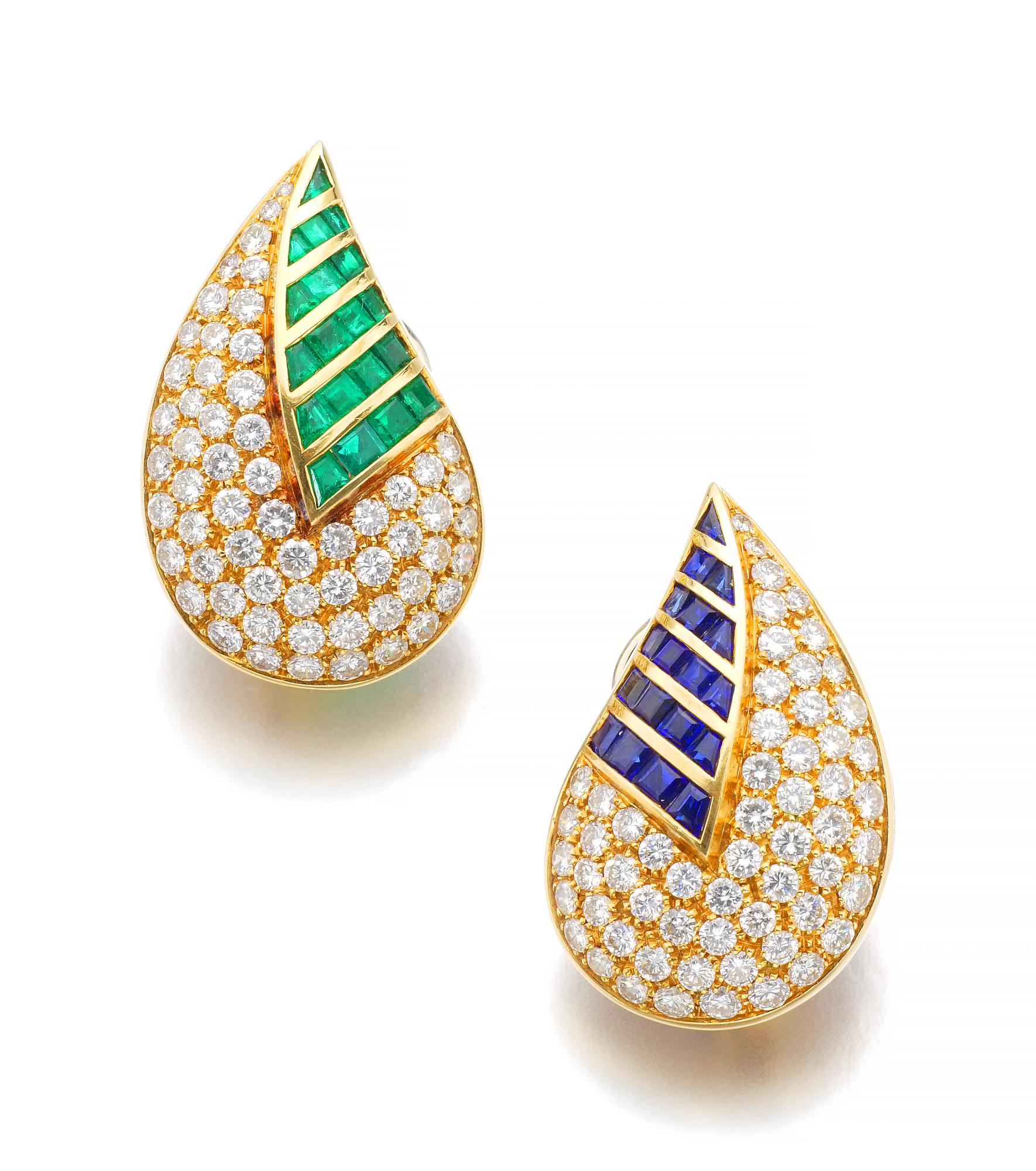 PAIR OF EMERALD, SAPPHIRE AND DIAMOND EAR CLIPS | FASANO