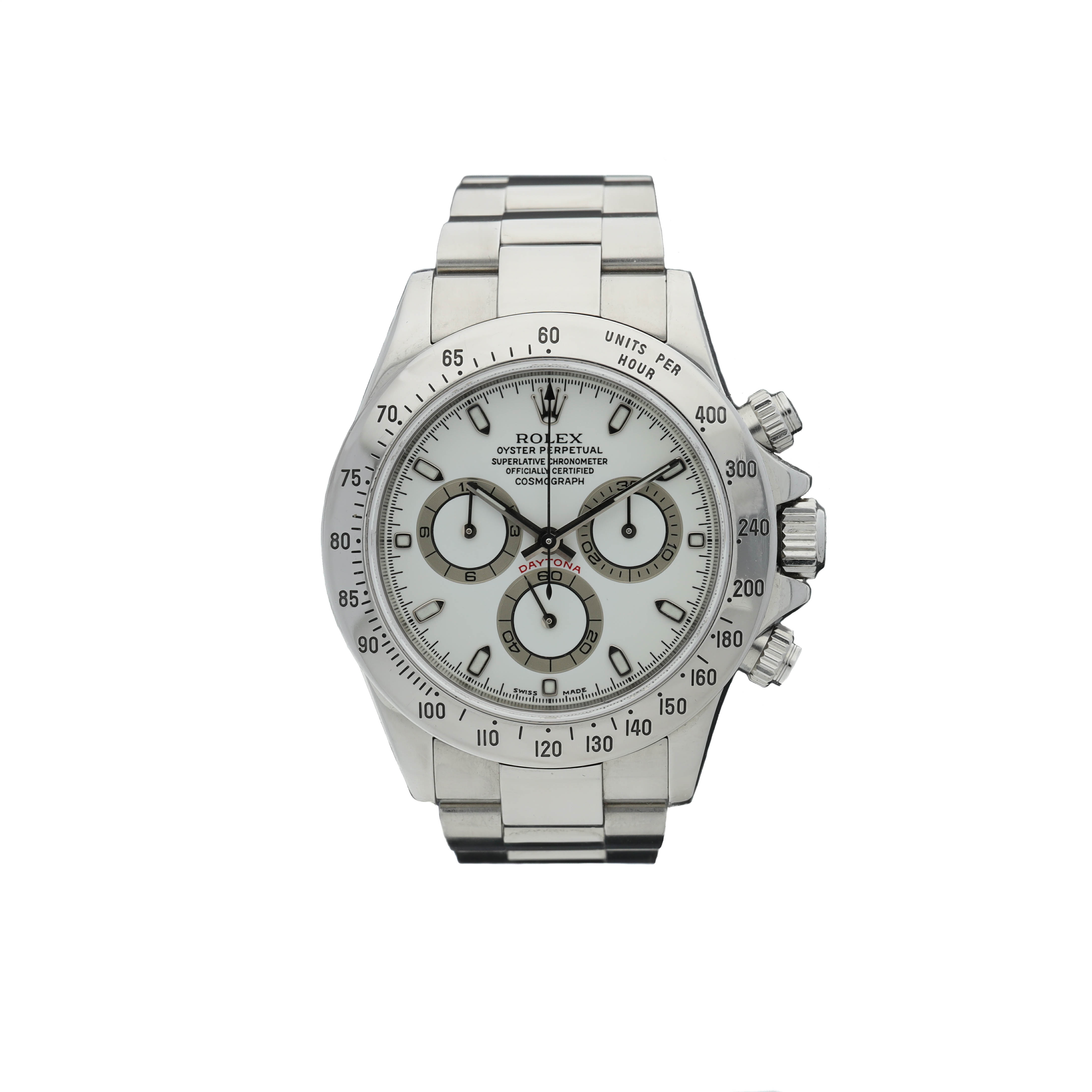 View full screen - View 1 of Lot 451. ROLEX   REFERENCE 116520 DAYTONA   A STAINLESS STEEL AUTOMATIC CHRONOGRAPH WRISTWATCH WITH REGISTERS AND BRACELET, CIRCA 2000.