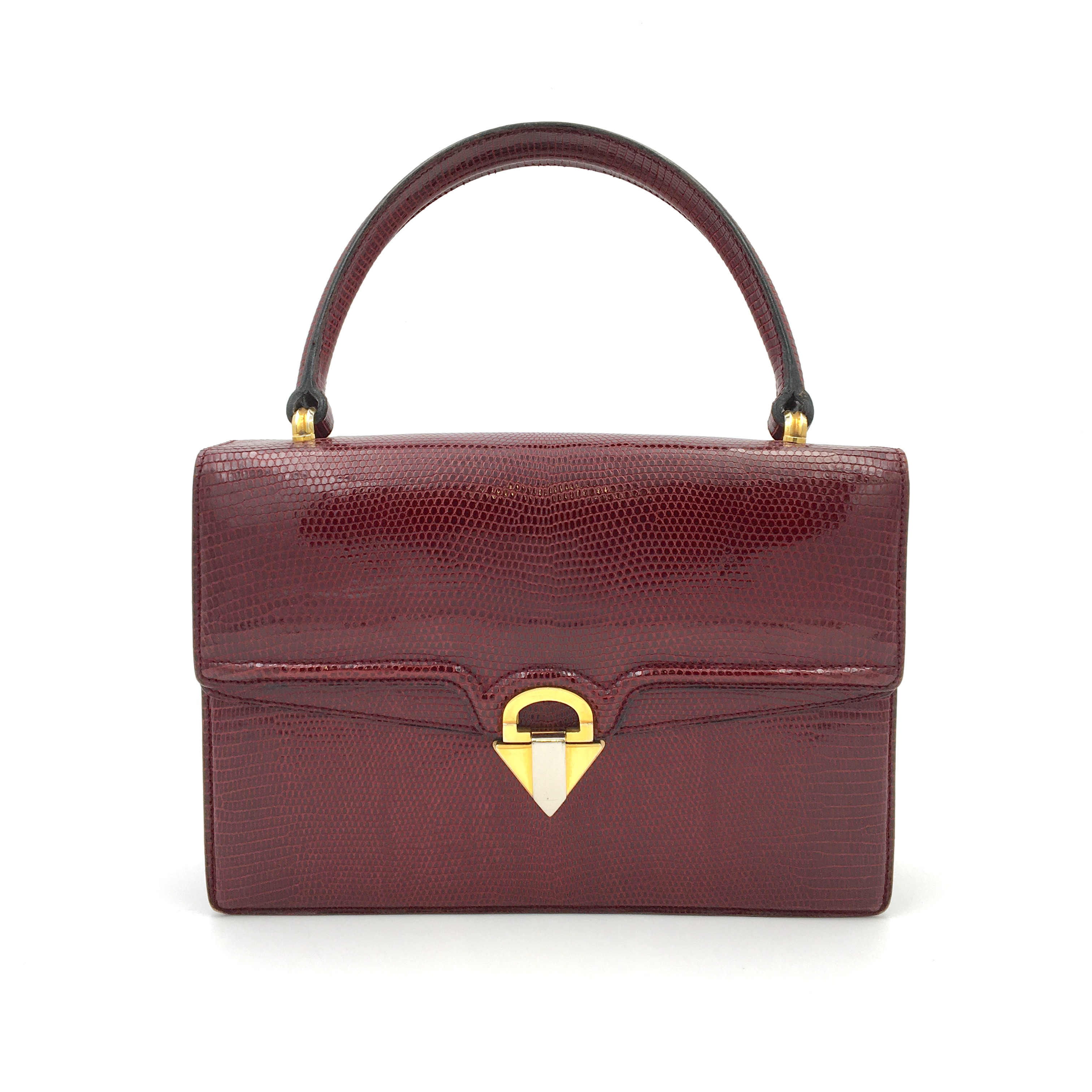 View full screen - View 1 of Lot 725. GUCCI   BURGUNDY VINTAGE BAG IN LIZARD, c.1960s.