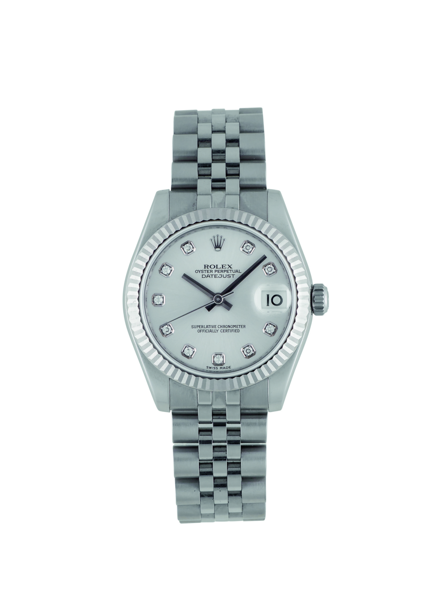 ROLEX | DATEJUST, REF 178274 STAINLESS STEEL WHITE GOLD AND DIAMOND-SET WRISTWATCH WITH DATE AND BRACELET CIRCA 2006