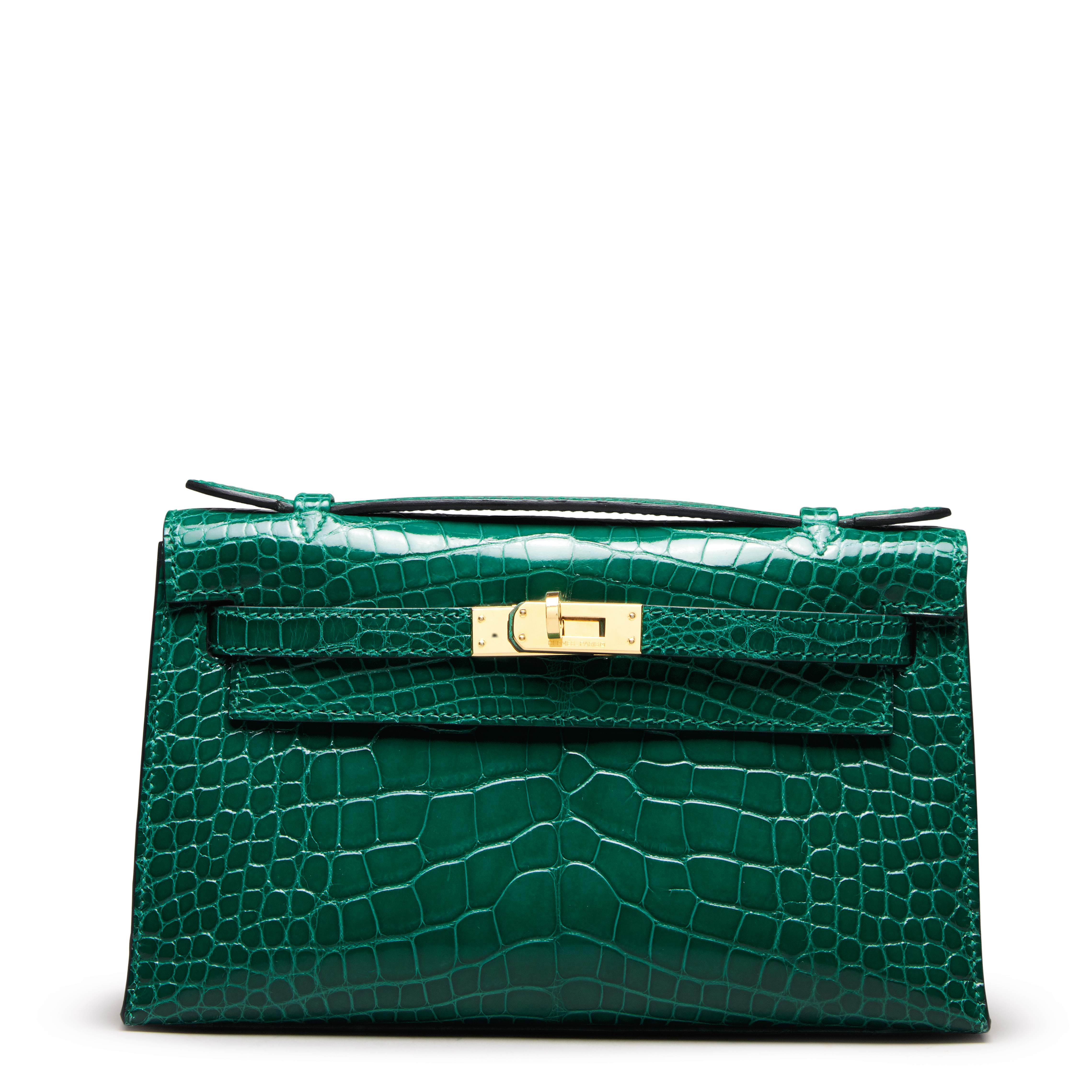 View full screen - View 1 of Lot 71. Cactus Kelly Pochette in Shiny Alligator Mississippiensis with Gold Hardware, 2012.