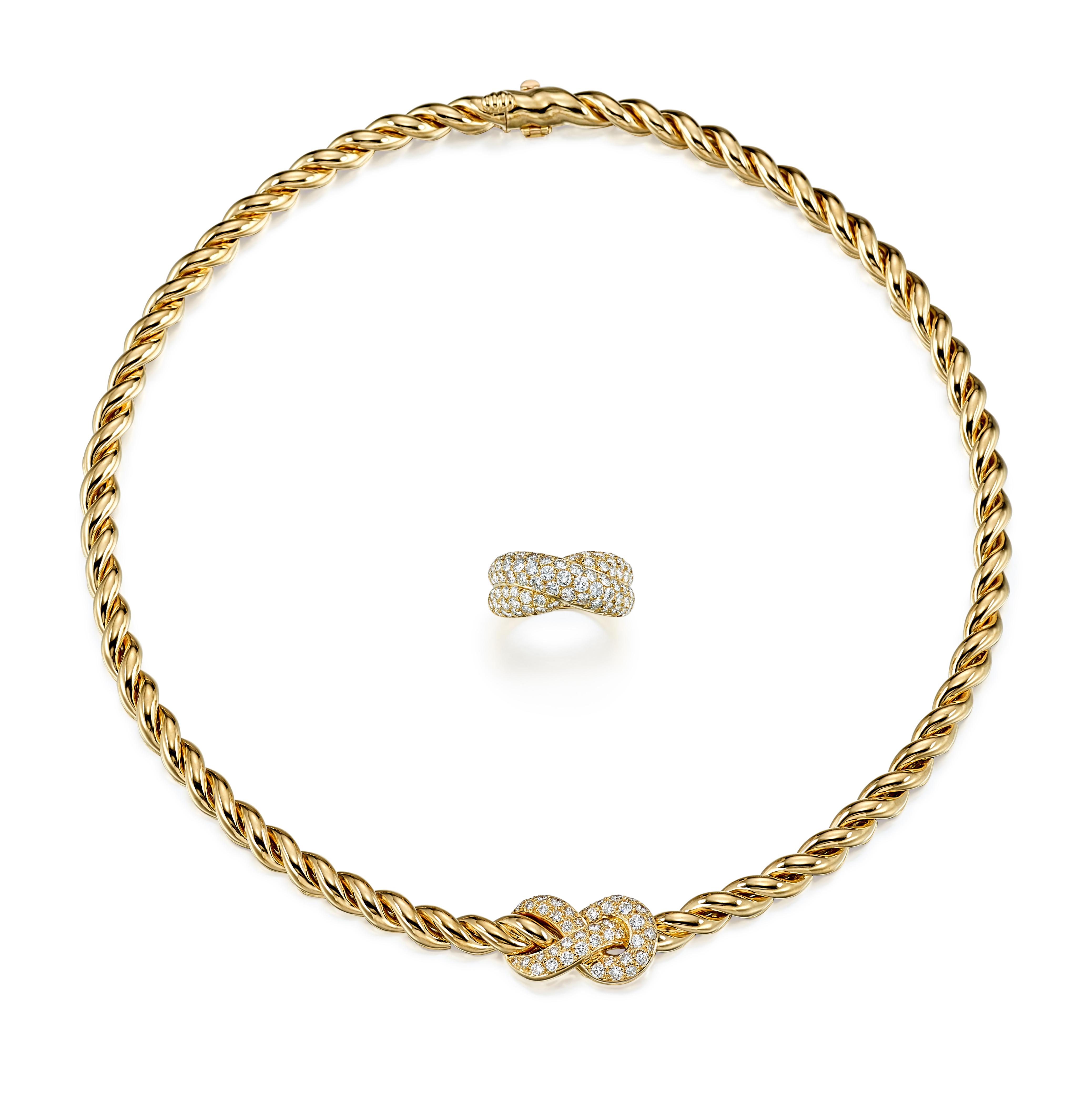 View 1 of Lot 9175.  GOLD AND DIAMOND DEMI PARURE, VAN CLEEF & ARPELS | K金 配 鑽石 項鏈及戒指套裝, 梵克雅寶(Van Cleef & Arpels).