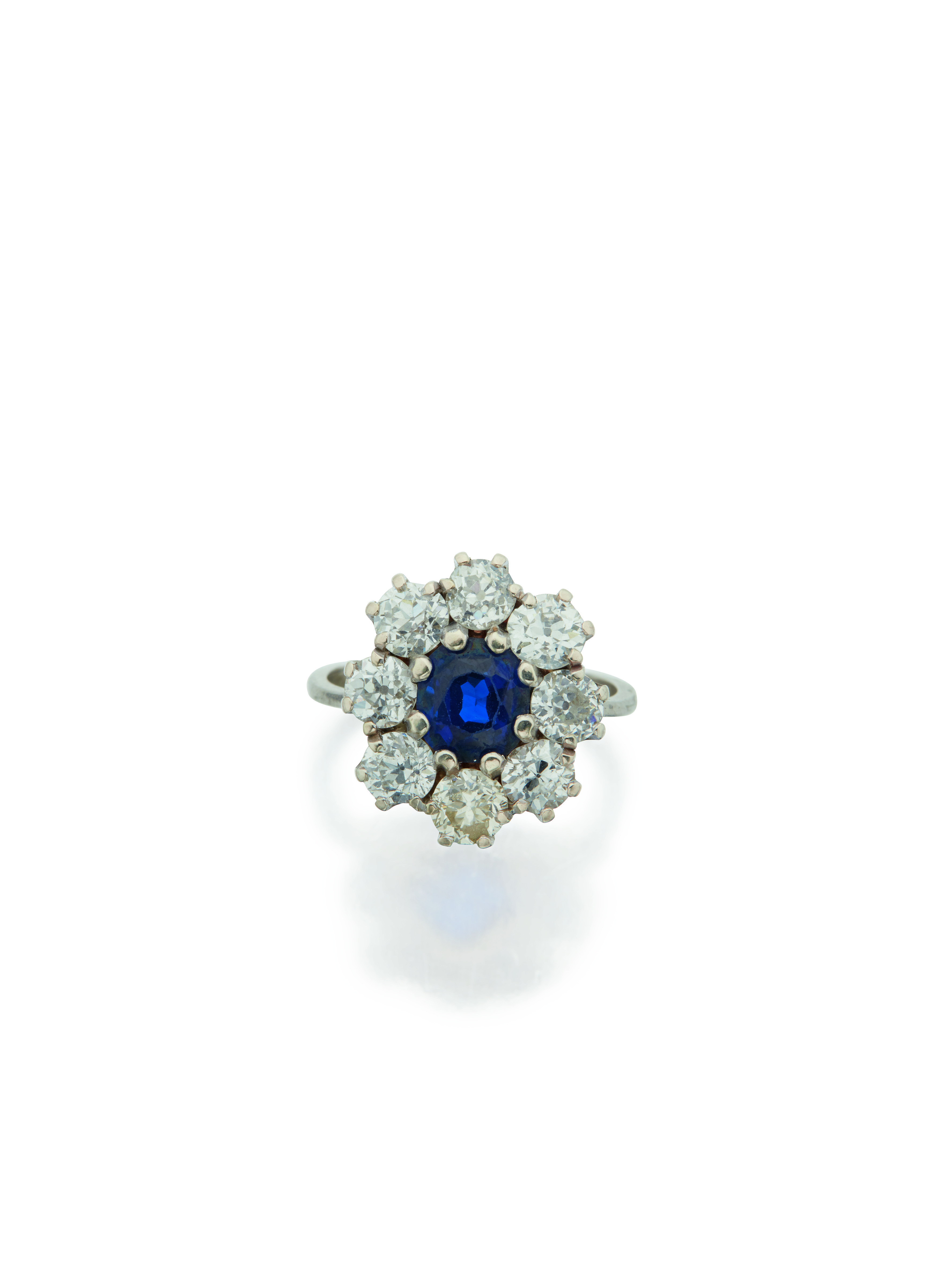 View full screen - View 1 of Lot 36. SAPPHIRE AND DIAMOND RING.