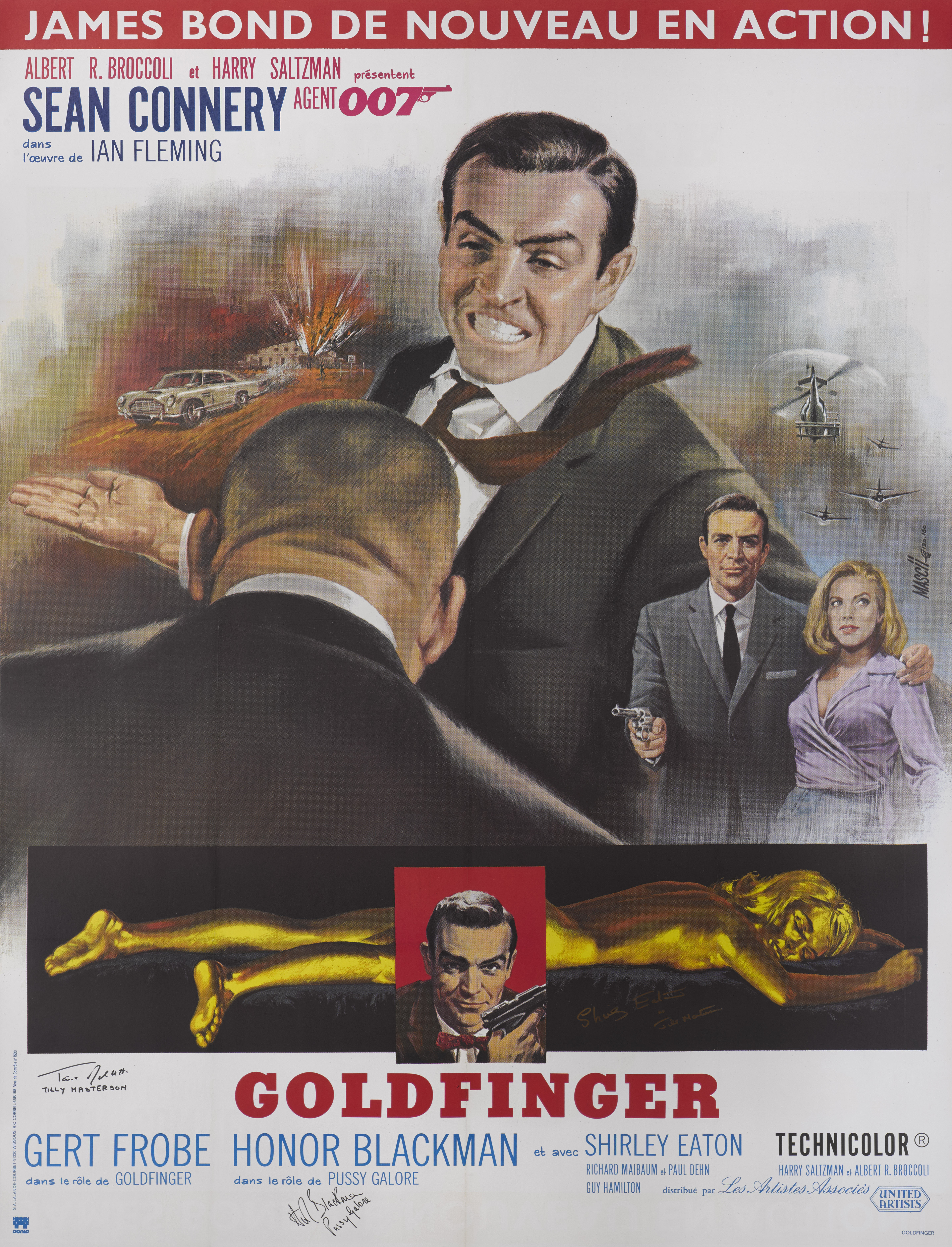 View full screen - View 1 of Lot 45. GOLDFINGER (1964) POSTER, FRENCH, 1980s RE-RELEASE, SIGNED BY  HONOR BLACKMAN (PUSSY GALORE), SHIRLEY EATON (JILL MASTERSON) AND TANIA MALLET (TILLY MASTERSON).
