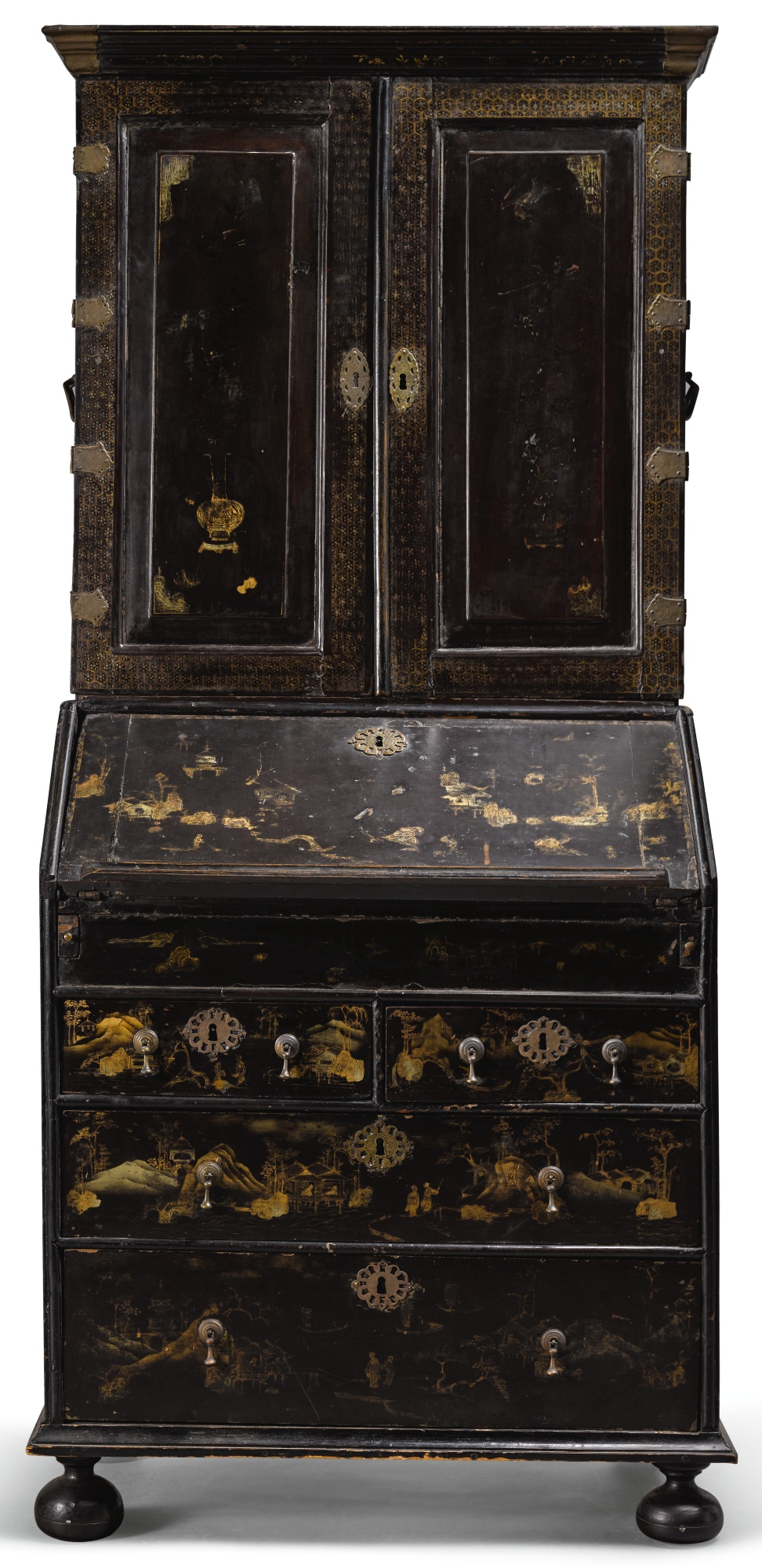 A Chinese Export Lacquered Bureau Bookcase First Quarter 18th Century Style Private
