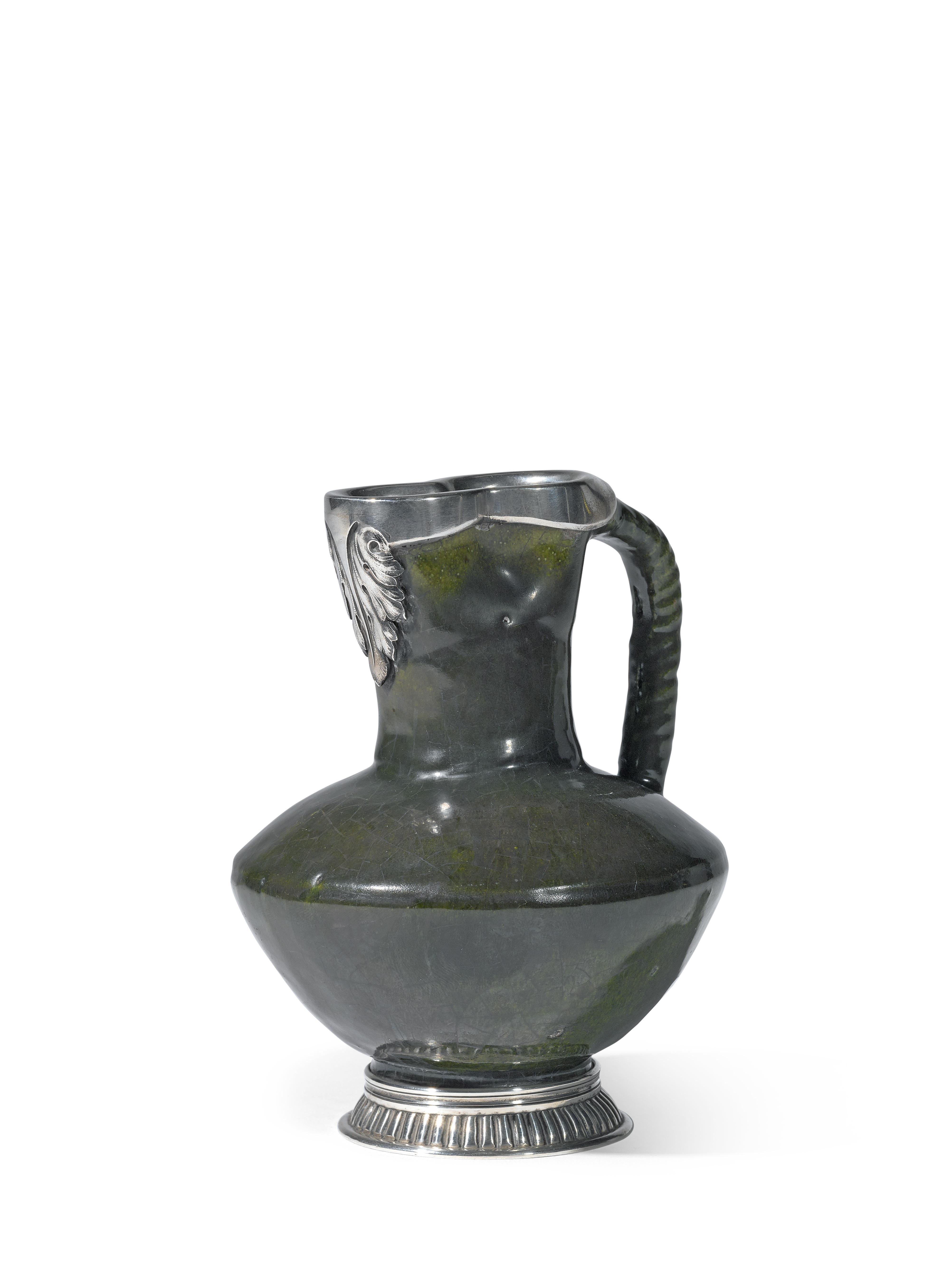 View full screen - View 1 of Lot 279. A Fabergé silver-mounted ceramic jug, workmaster Julius Rappoport, St Petersburg, circa 1890.