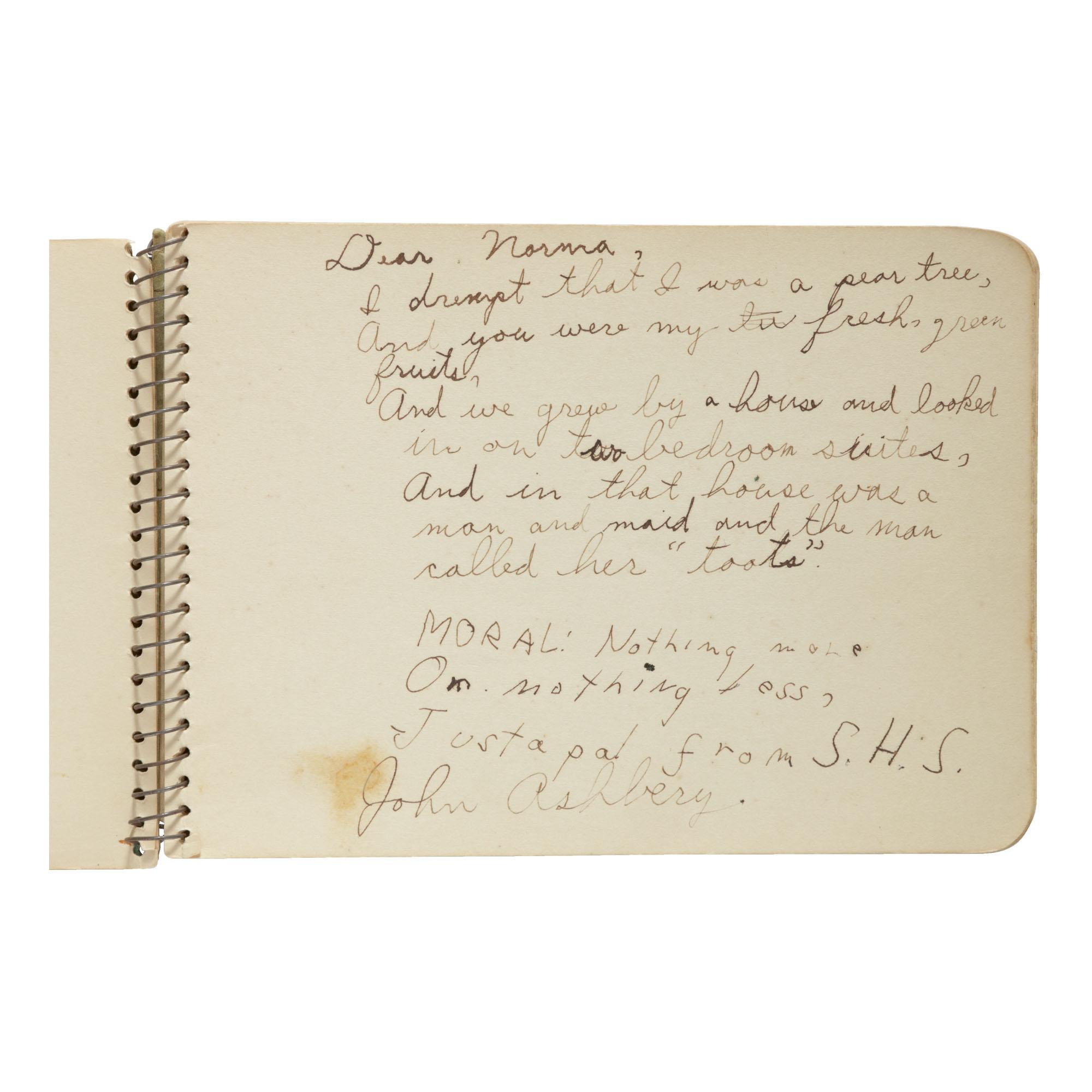 JOHN ASHBERY | MANUSCRIPT JUVENILIA IN AN AUTOGRAPH ALBUM. [SODUS, NEW YORK], 1936–1937