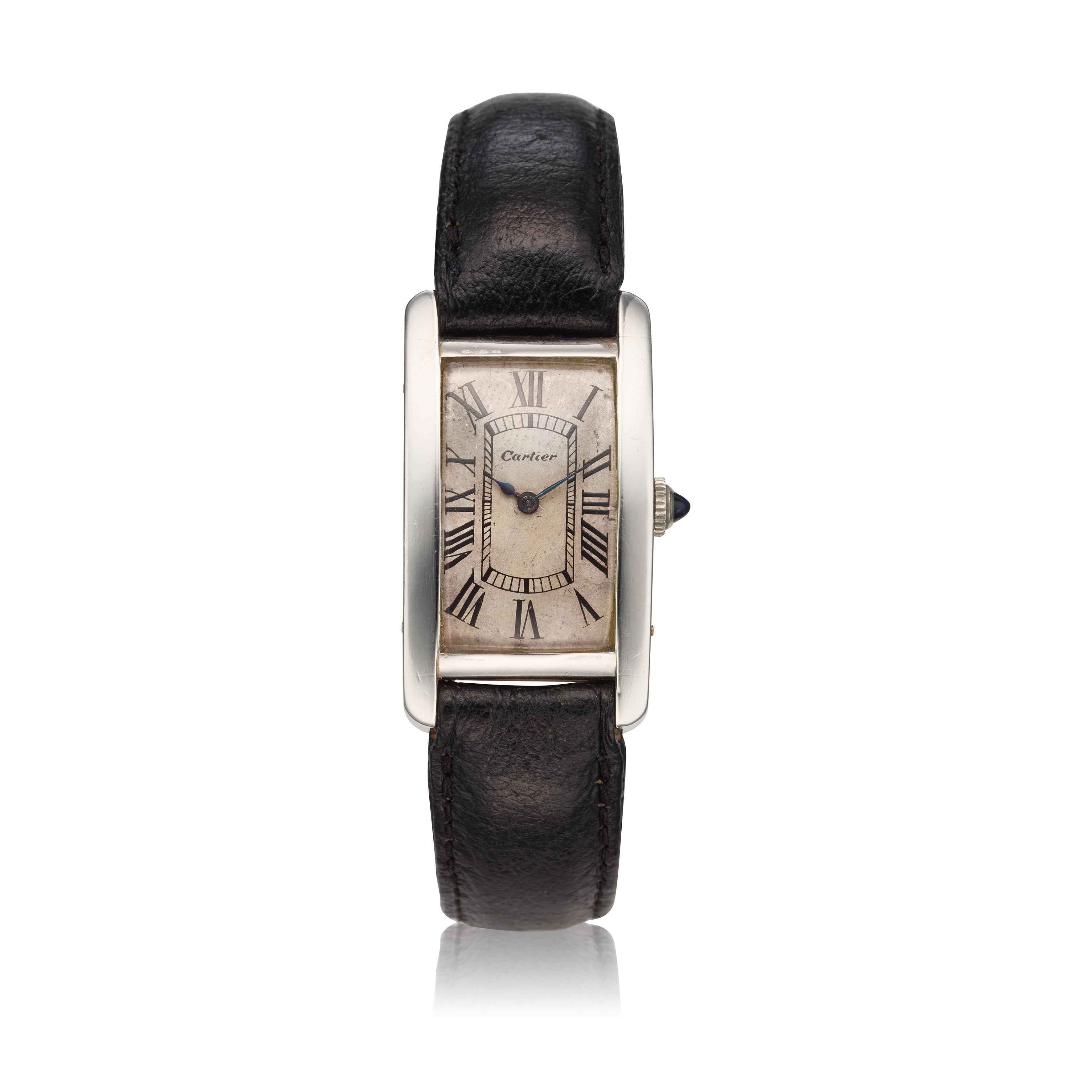 View full screen - View 1 of Lot 222. Tank Cintrée A rare platinum and yellow gold rectangular wristwatch, Circa 1925 .