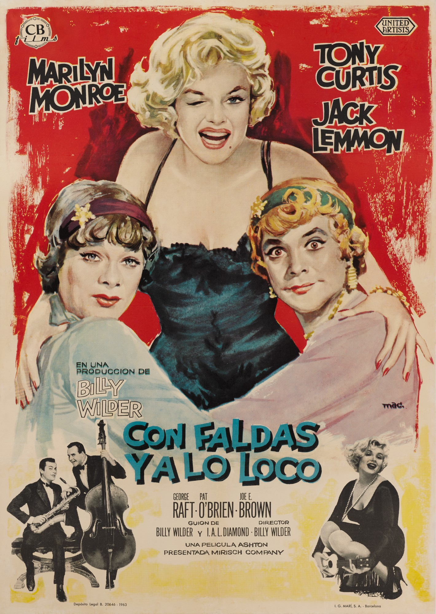 SOME LIKE IT HOT / CON FALDAS YA LO LOCO (1959) POSTER, SPANISH