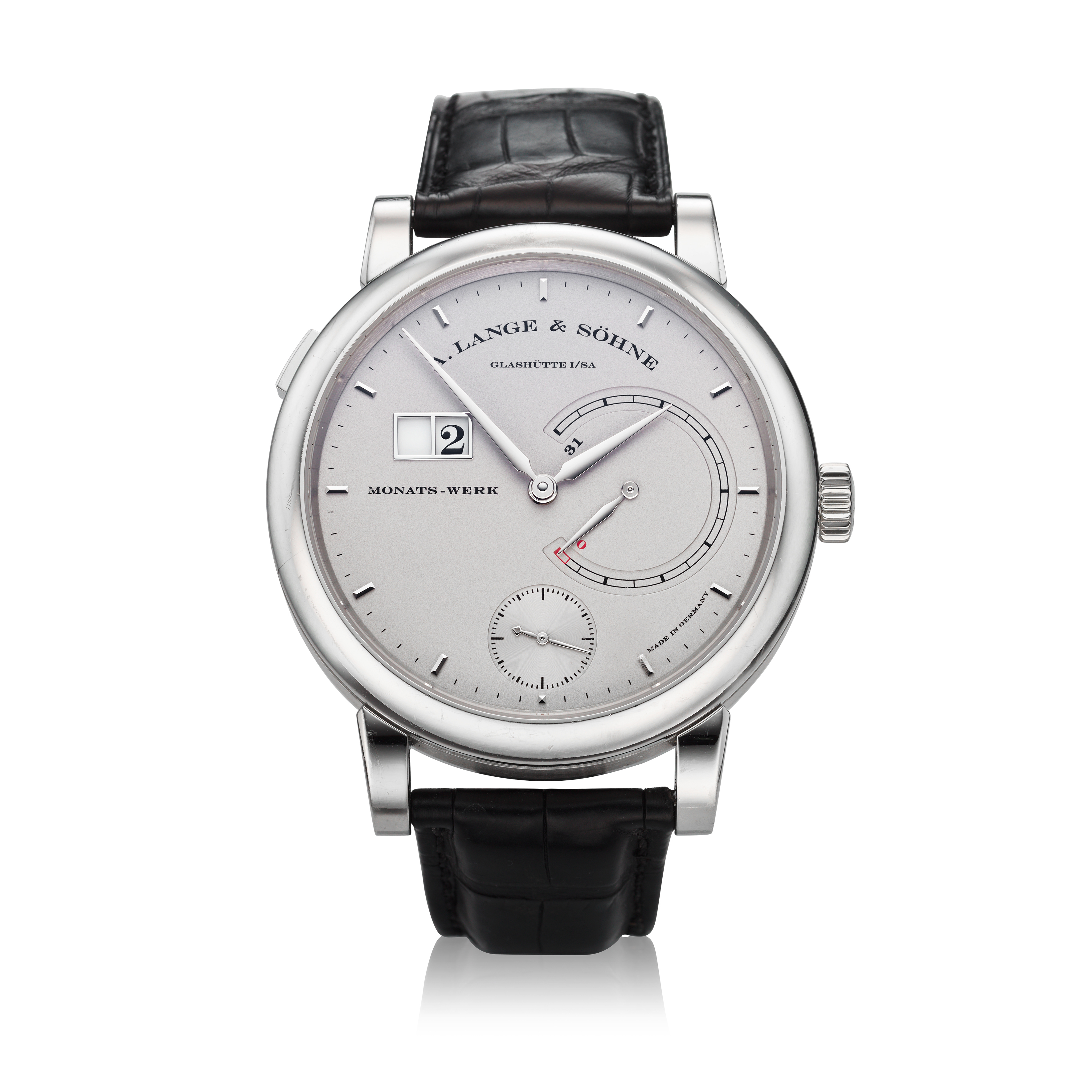 View full screen - View 1 of Lot 293. Reference 130.025F Lange 31  A platinum wristwatch with date and power reserve indication, Circa 2010 .