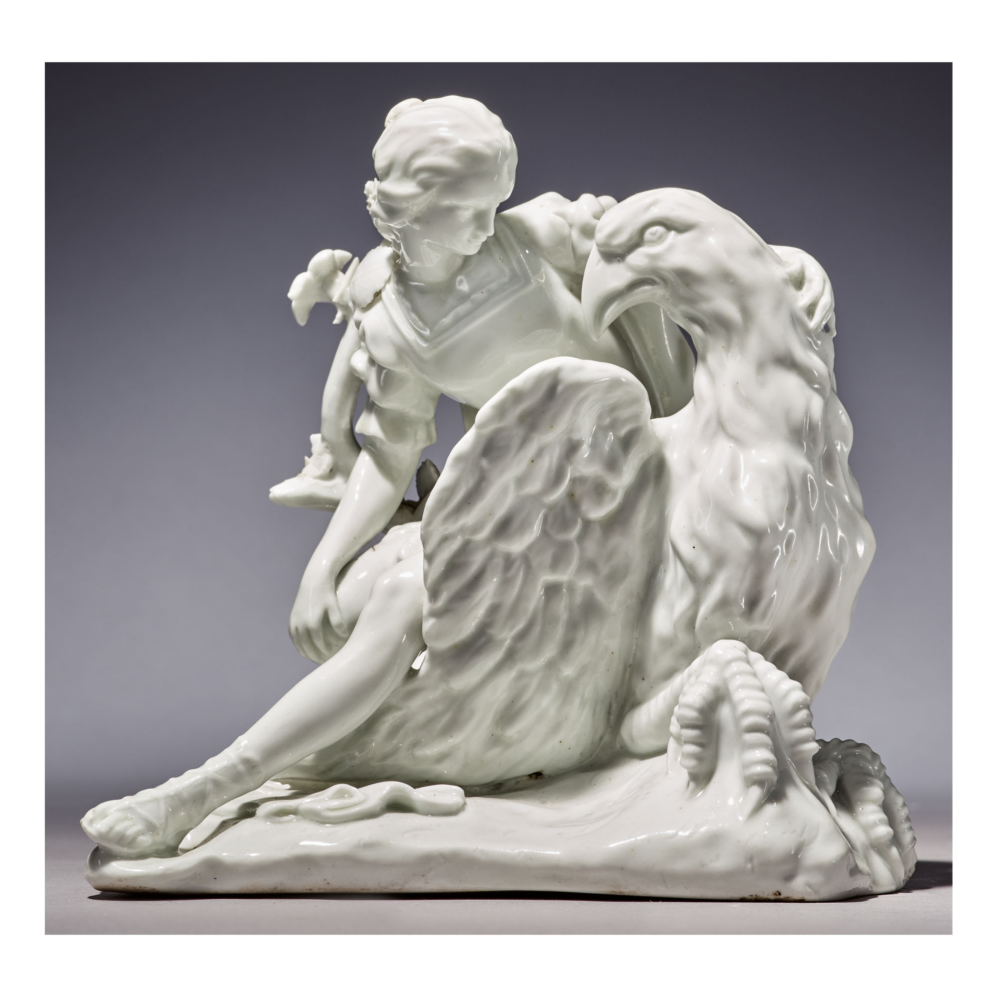 A RARE ST. JAMES'S (CHARLES GOUYN FACTORY) WHITE PORCELAIN GROUP OF GANYMEDE AND THE EAGLE CIRCA 1749-60