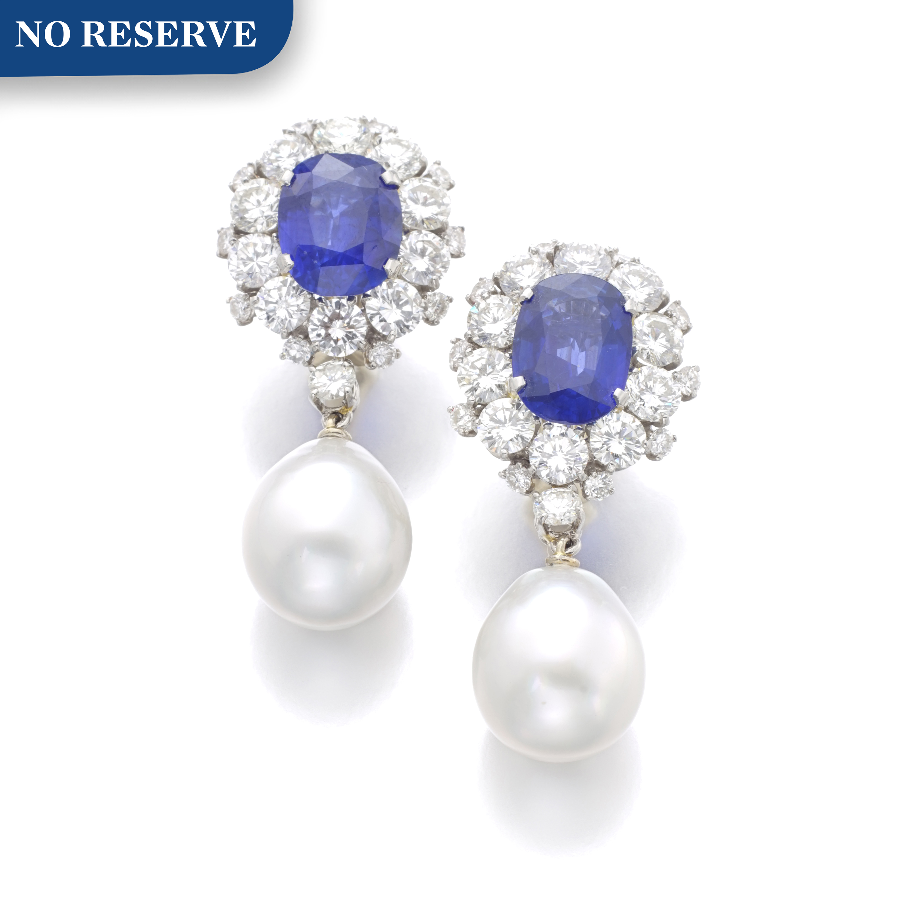 View full screen - View 1 of Lot 98. PAIR OF SAPPHIRE, CULTURED PEARL AND DIAMOND EARRINGS.