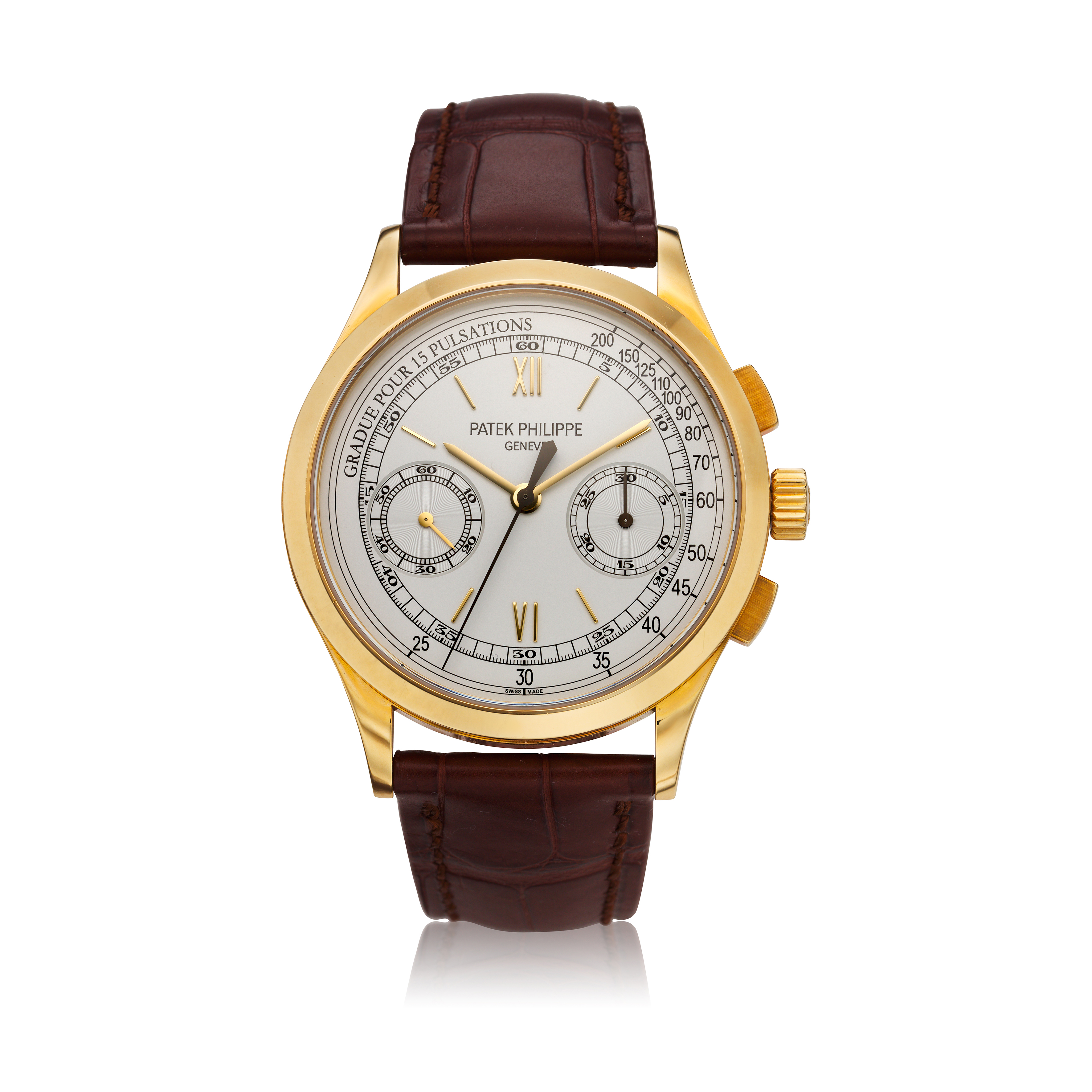 View full screen - View 1 of Lot 355. Reference 5170  A yellow gold chronograph wristwatch with pulsation scale, Made in 2011 .