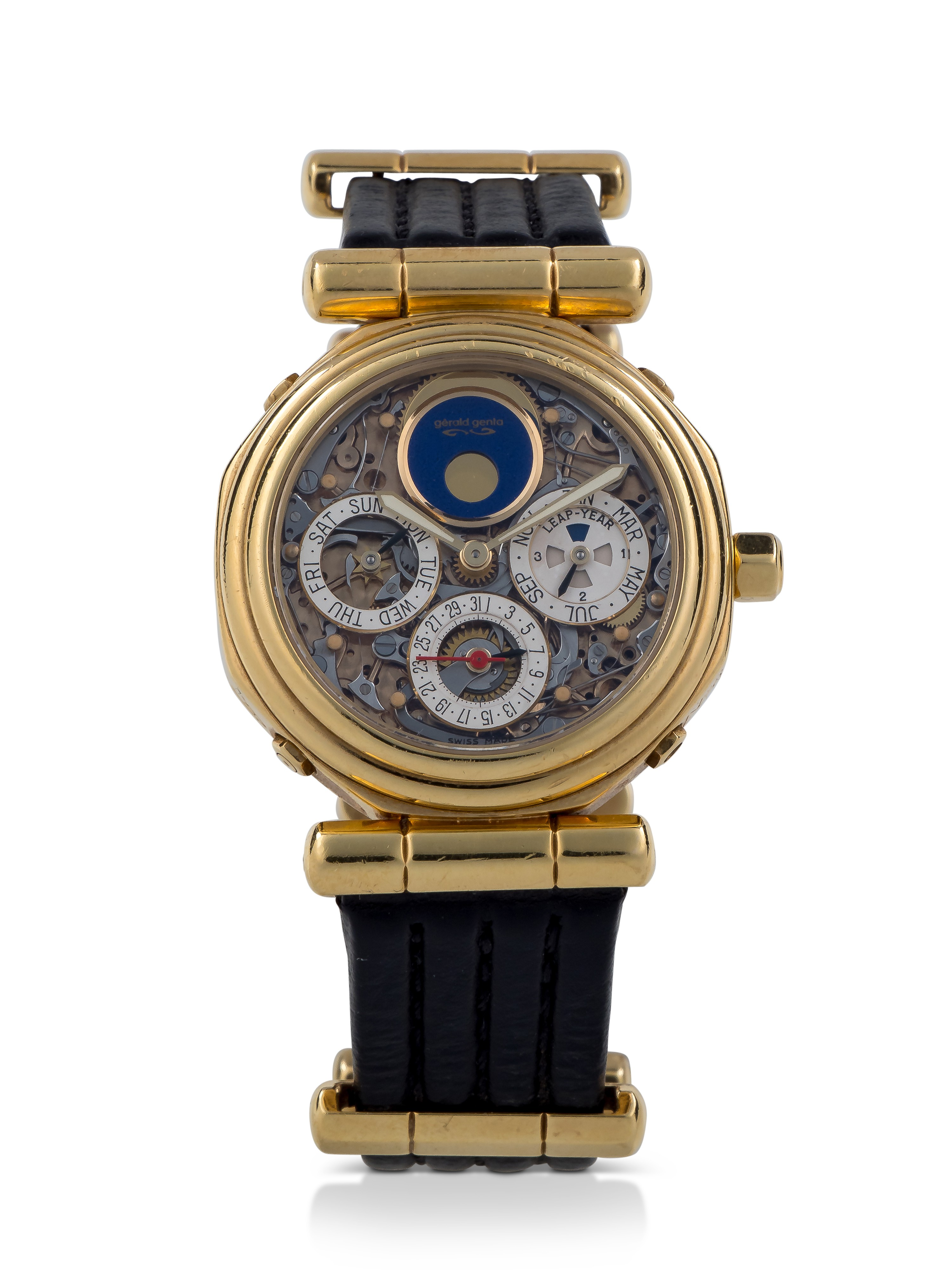 View full screen - View 1 of Lot 41. GÉRALD GENTA |  REF G4009.4 YELLOW GOLD PERPETUAL CALENDAR TOURBILLON WRISTWATCH WITH MOON PHASES AND LEAP-YEAR INDICATION CIRCA 1992.