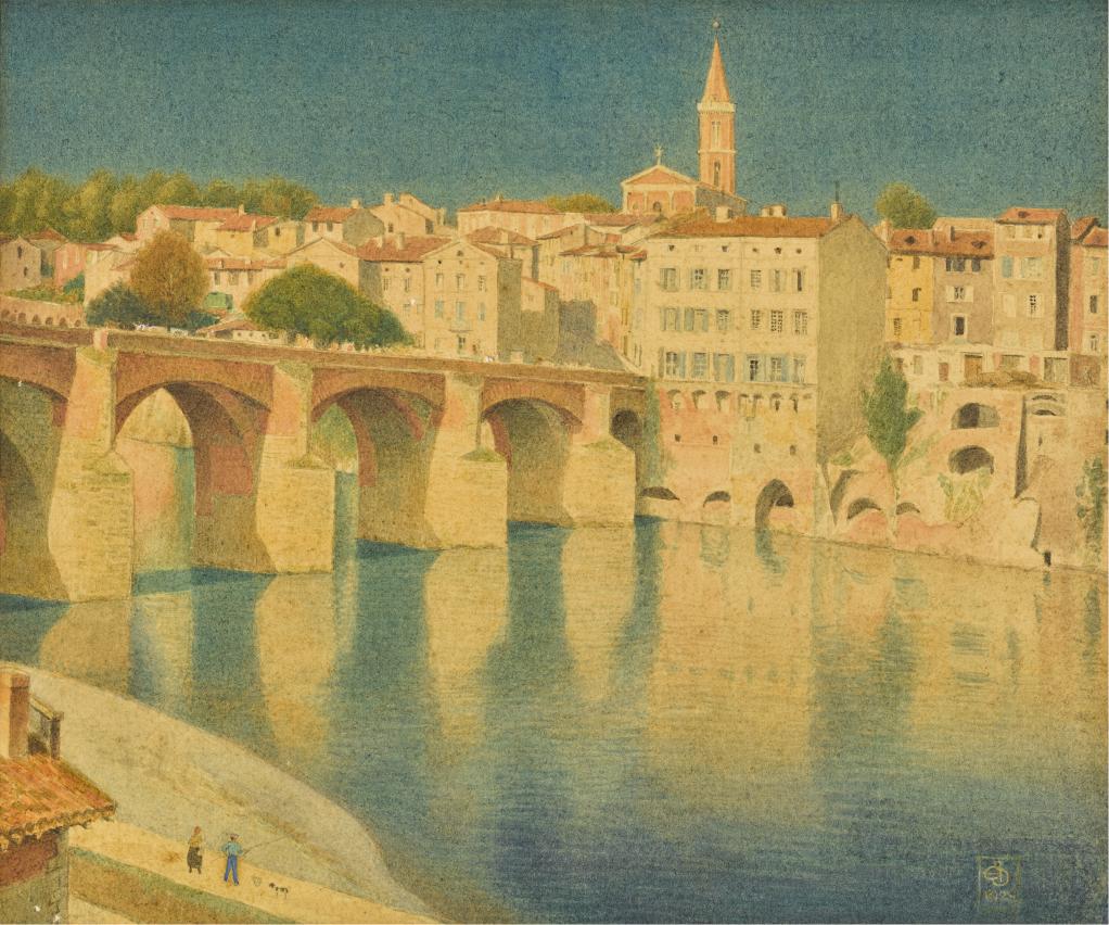 JOSEPH EDWARD SOUTHALL, R.W.S., R.B.S.A., N.E.A.C. | The Medieval Bridge over the River Tarnat Albi, France