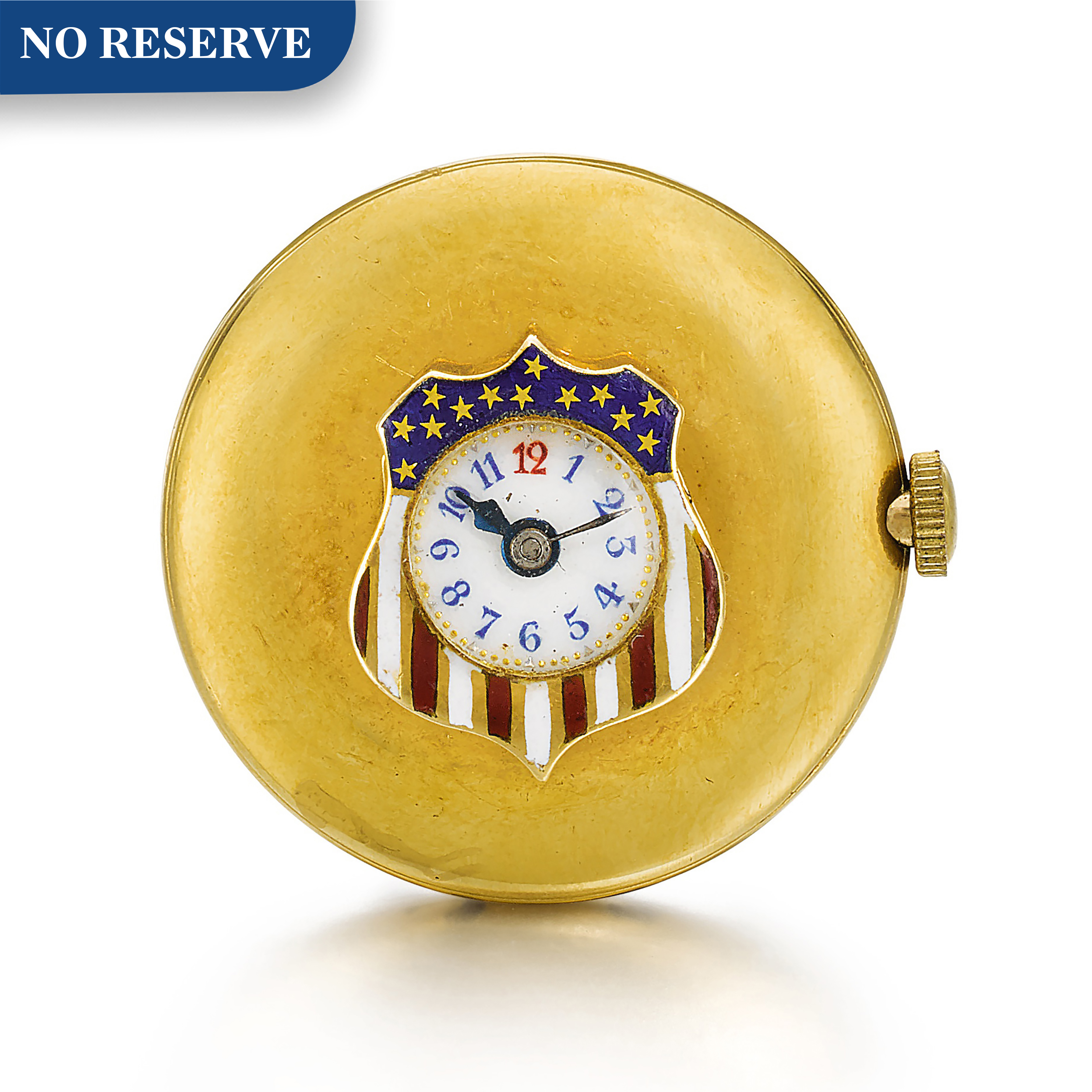 View full screen - View 1 of Lot 22. LONGINES   [浪琴]  | A GOLD AND ENAMEL BUTTON HOLE WATCH IN THE SHAPE OF A STYLISED AMERICAN FLAG  CIRCA 1910  [ 黃金畫琺瑯懷錶備袖珍錶盤、飾美國國旗圖案,年份約1910].