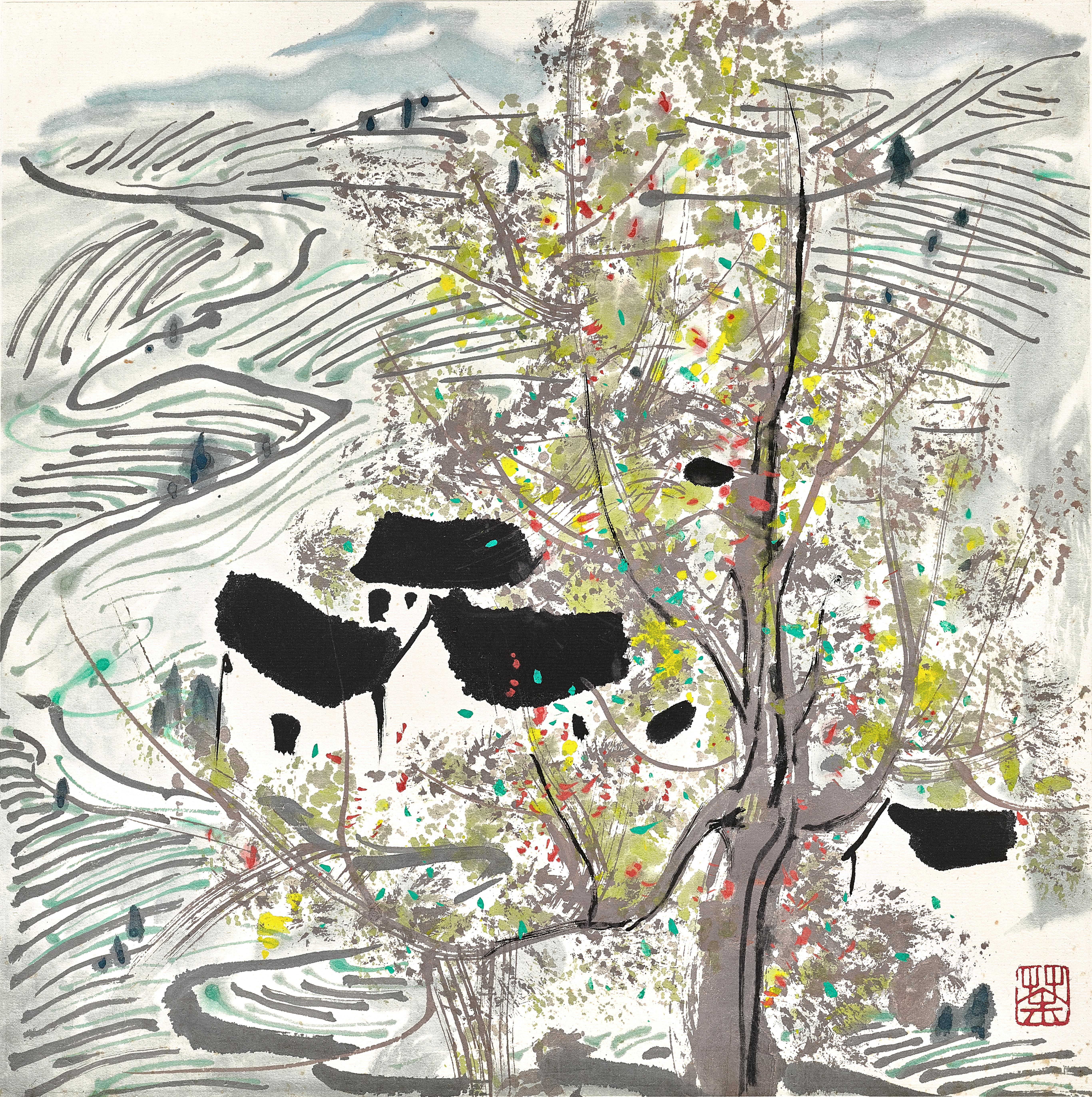 View full screen - View 1 of Lot 3027. 吳冠中 Wu Guanzhong   梯田 Paddy Fields.