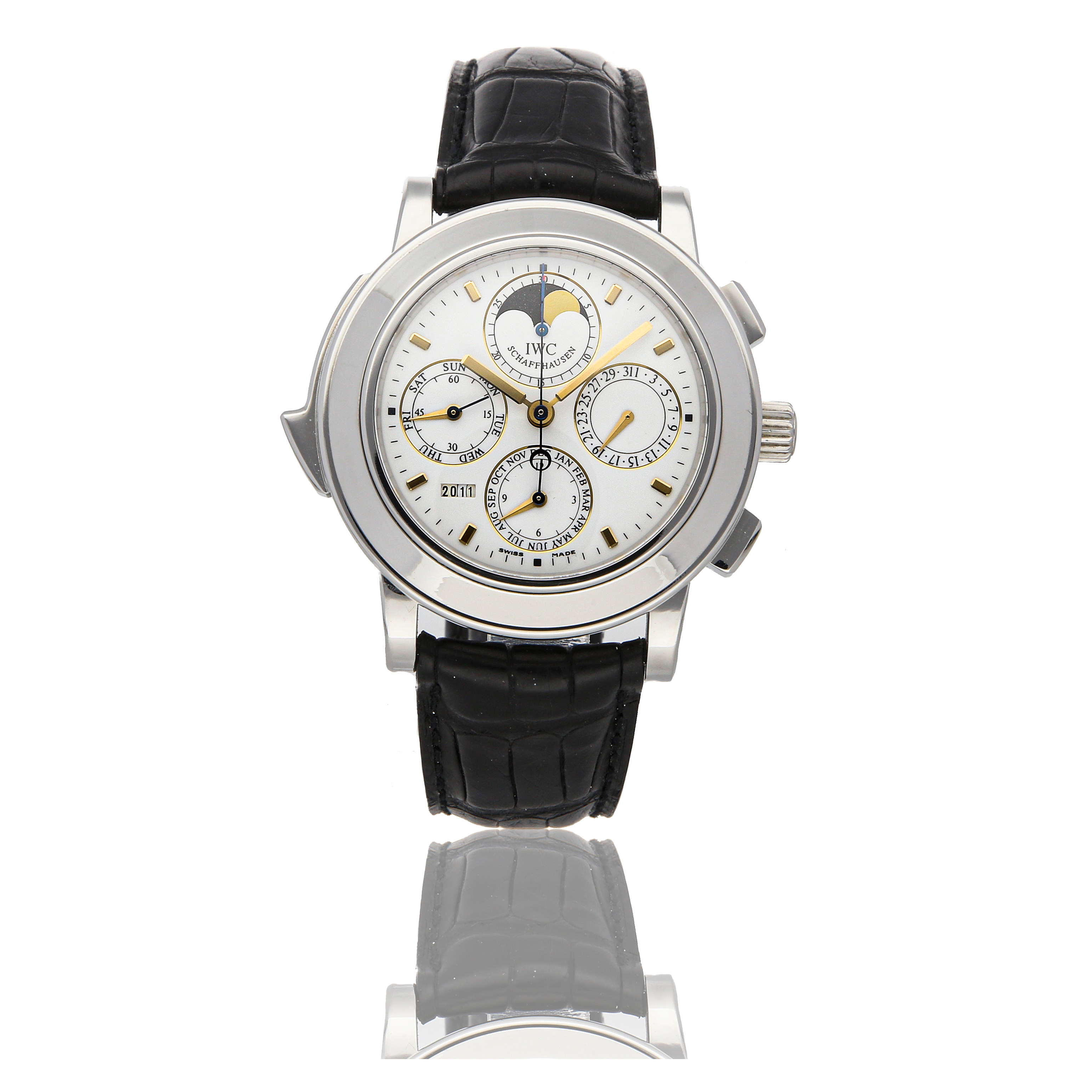 View full screen - View 1 of Lot 307. IWC   GRANDE COMPLICATION REF 3770-03, LIMITED EDITION PLATINUM AUTOMATIC MINUTE-REPEATING PERPETUAL CALENDAR CHRONOGRAPH WRISTWATCH WITH MOON PHASES CIRCA 2003.