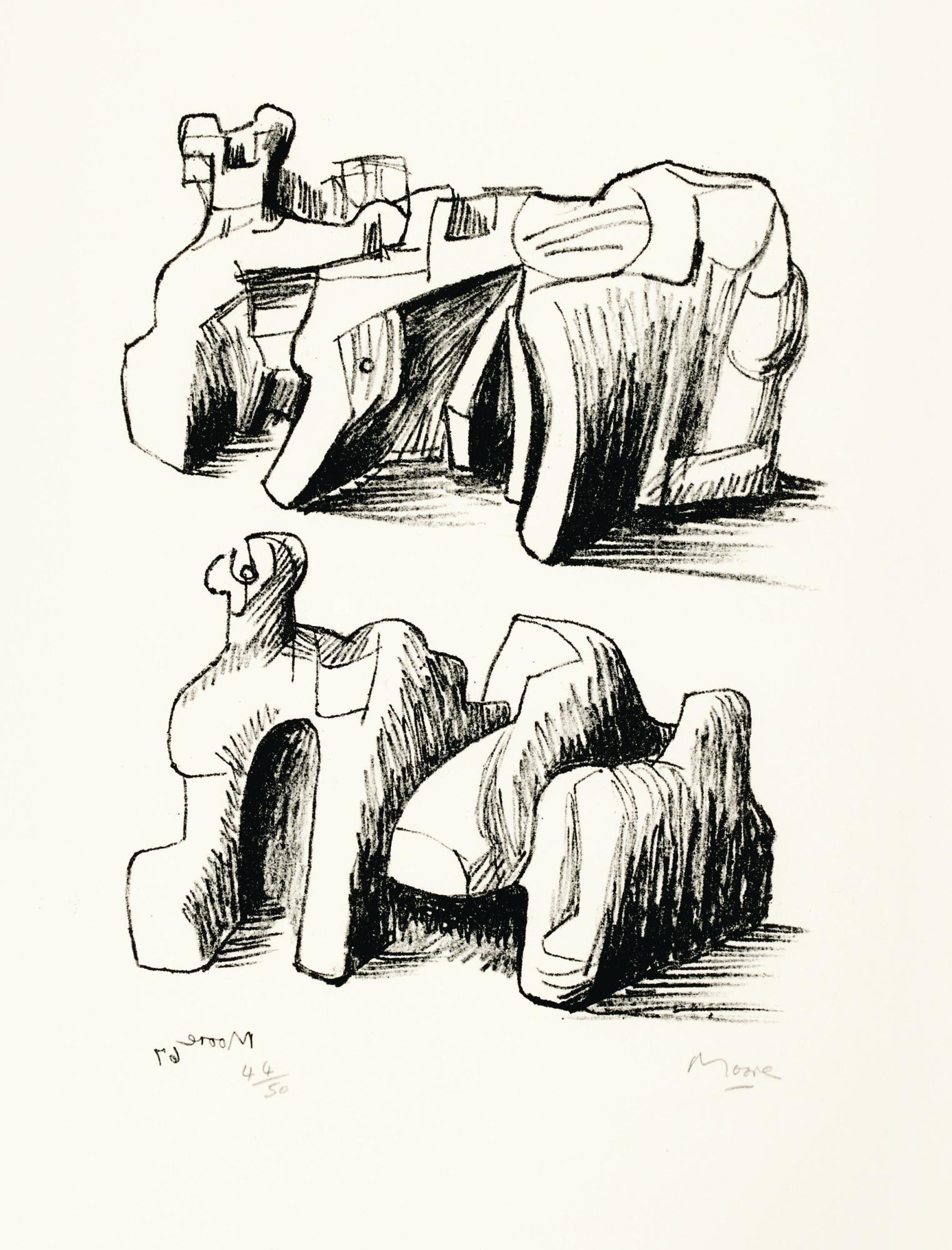 HENRY MOORE | TWO ROCK RECLINING FIGURES; AND MOTIF IN RED BLUE AND YELLOW (C. 102; 71)