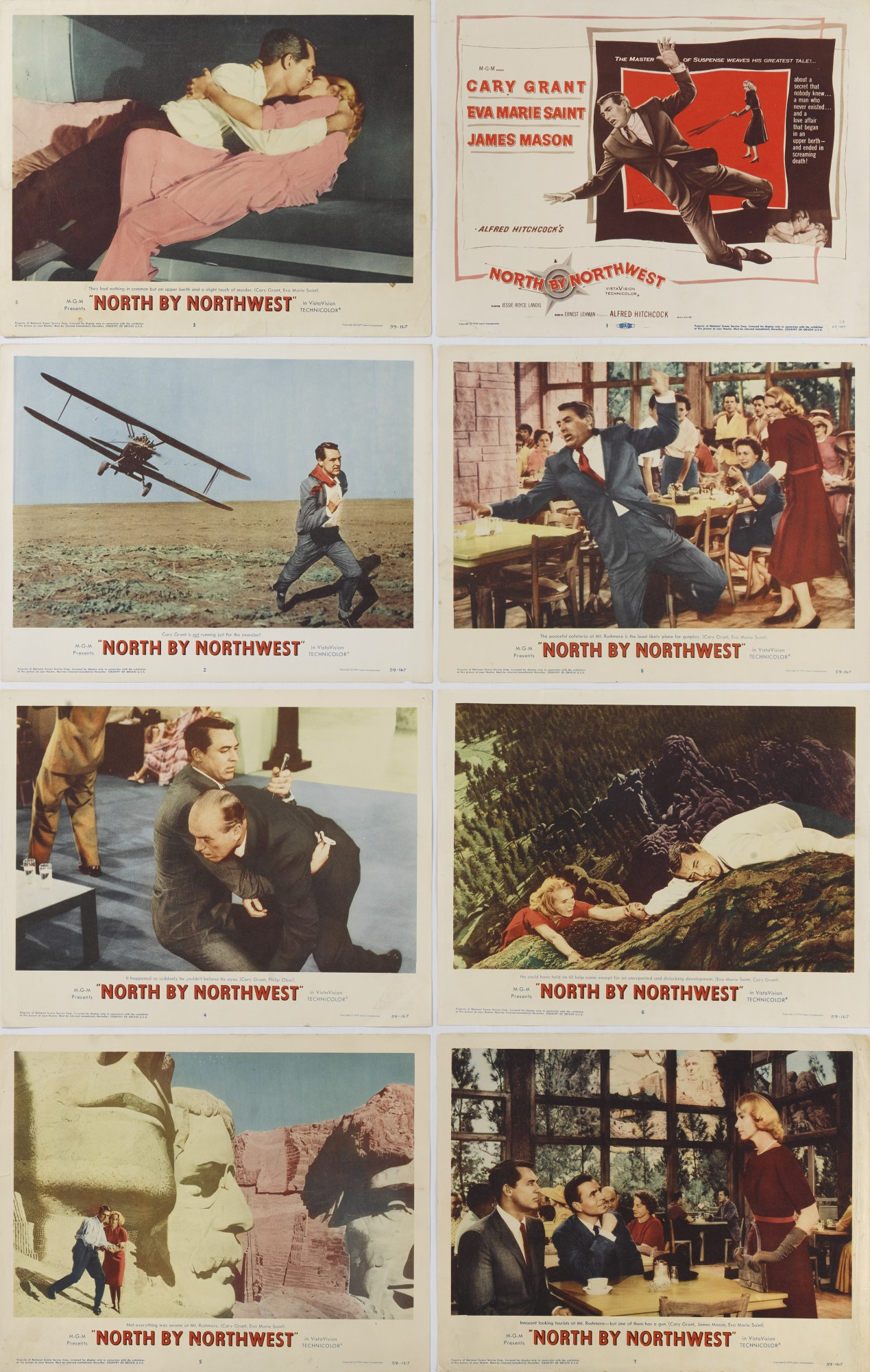 NORTH BY NORTHWEST (1959) COMPLETE SET OF LOBBY CARDS, US