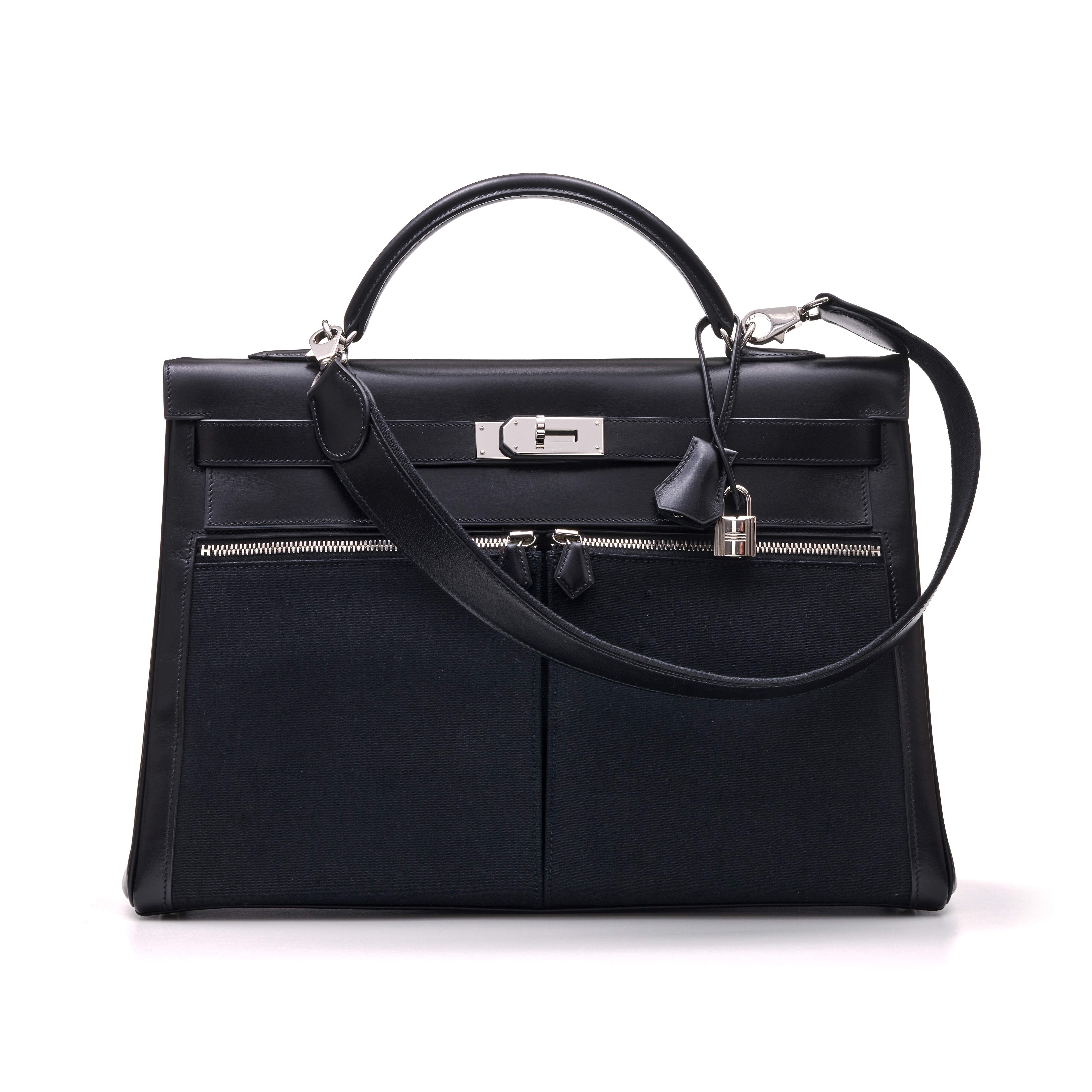 View full screen - View 1 of Lot 332. Black Kelly Lakis 40cm in Toile and Box Leather with Palladium Hardware, 2008.