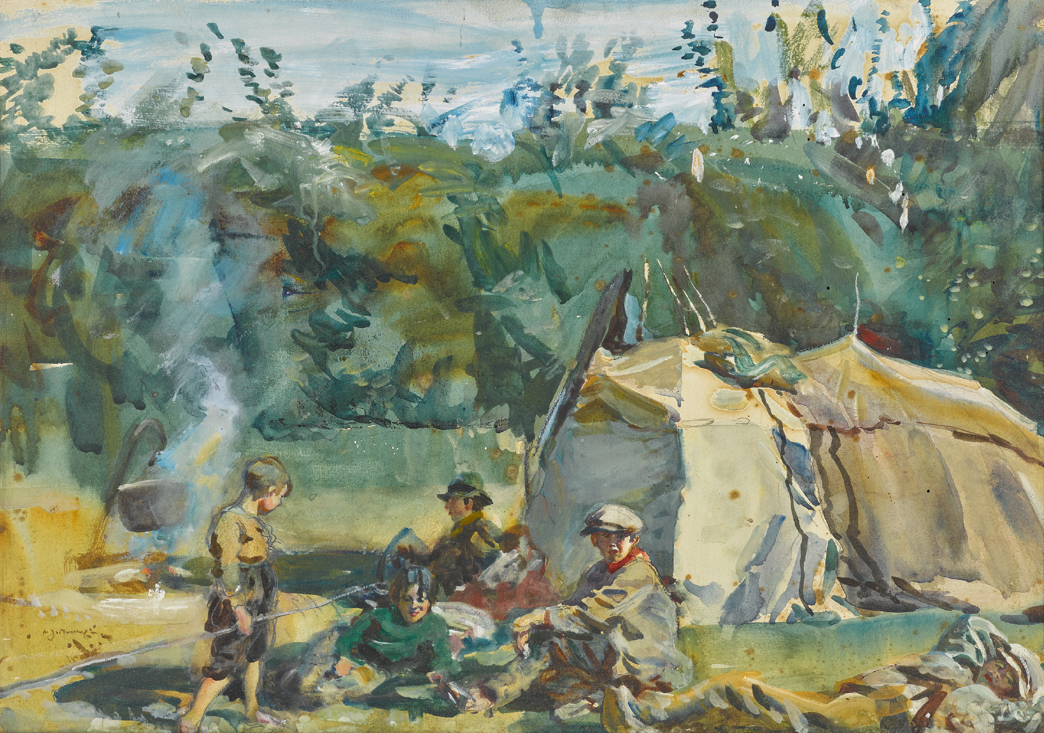 SIR ALFRED JAMES MUNNINGS, P.R.A., R.W.S. | The Gypsy Encampment