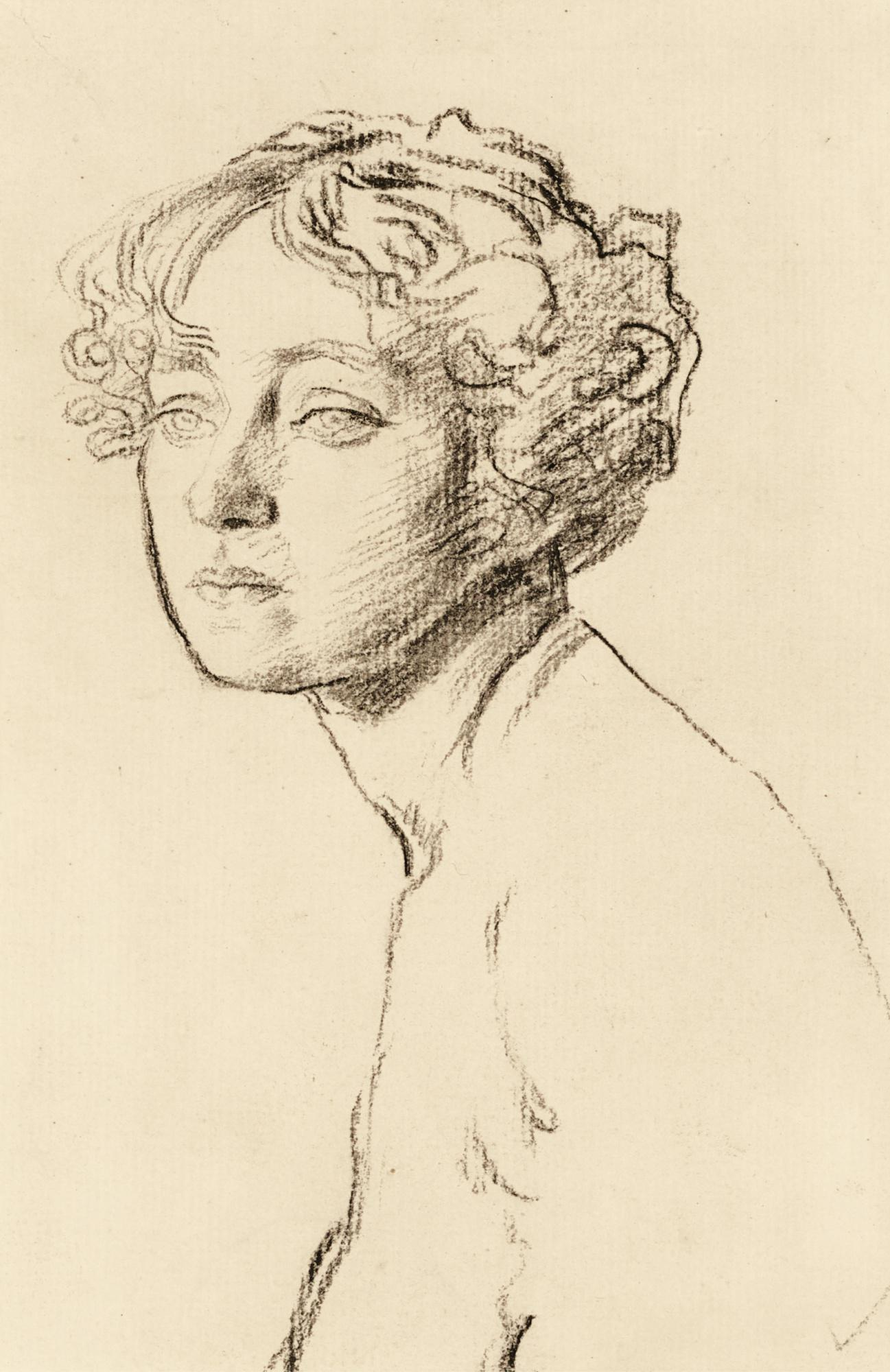 AUGUSTUS JOHN, R.A. | STUDY OF A FEMALE NUDE, BUST-LENGTH