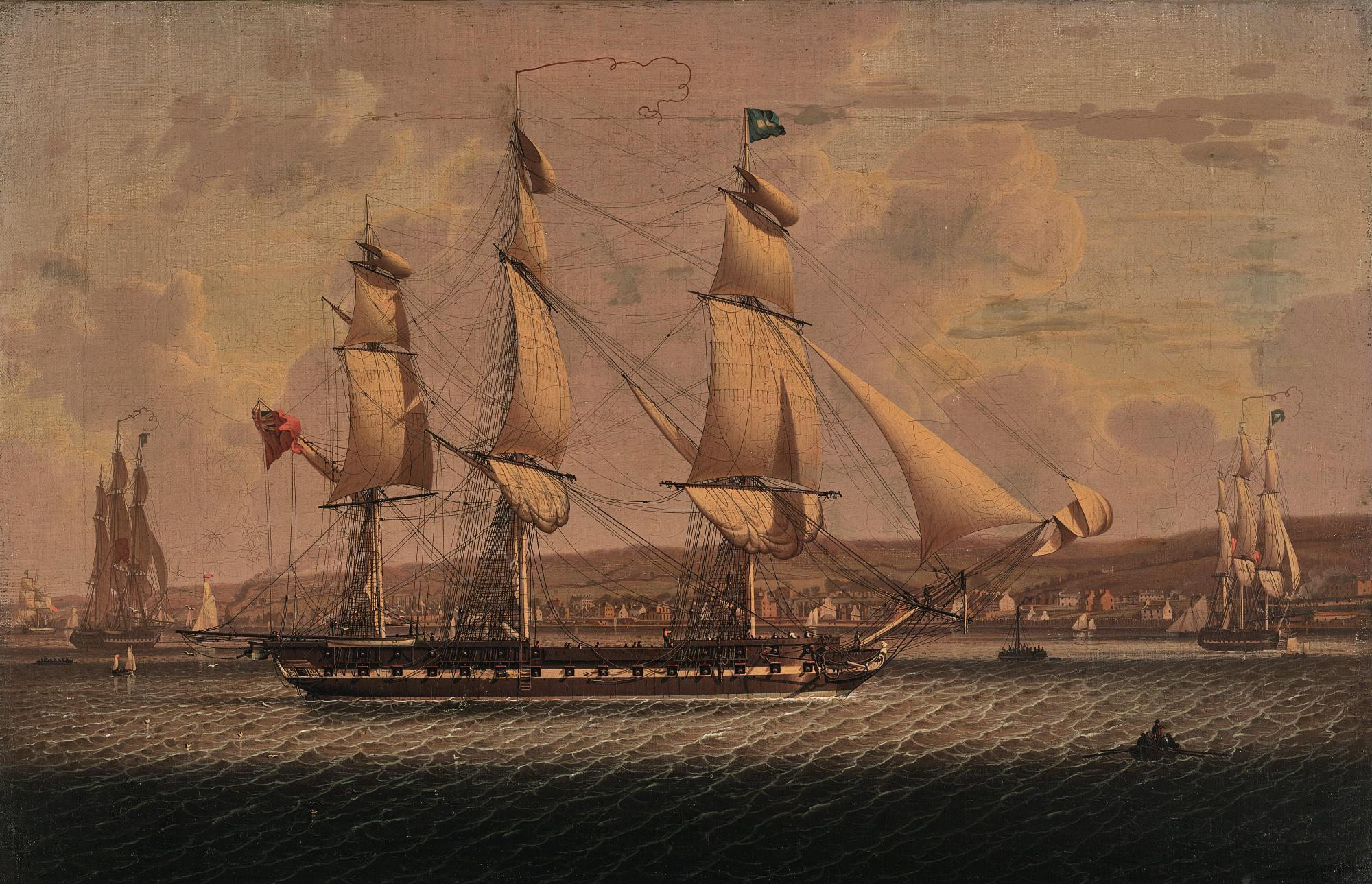 ROBERT SALMON | A MAN-OF-WAR OF THE RED SQUADRON, DEPARTING THE 'TAIL OF THE BANK' ANCHORAGE ON THE CLYDE