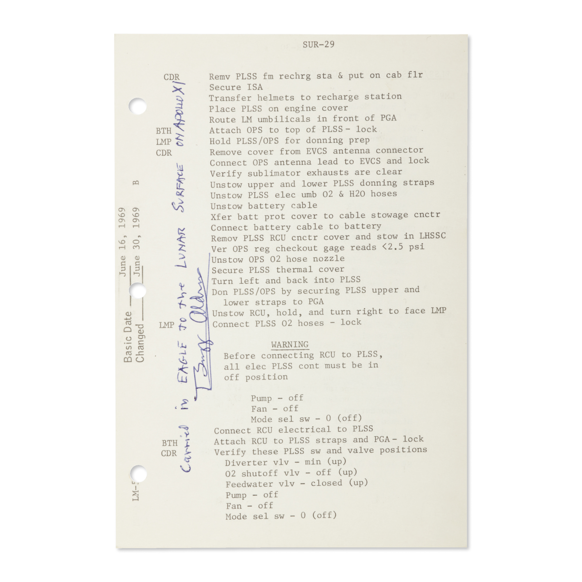 [APOLLO 11]. LUNAR SURFACE FLOWN, APOLLO 11 CHECKLIST SHEET USED ON THE...
