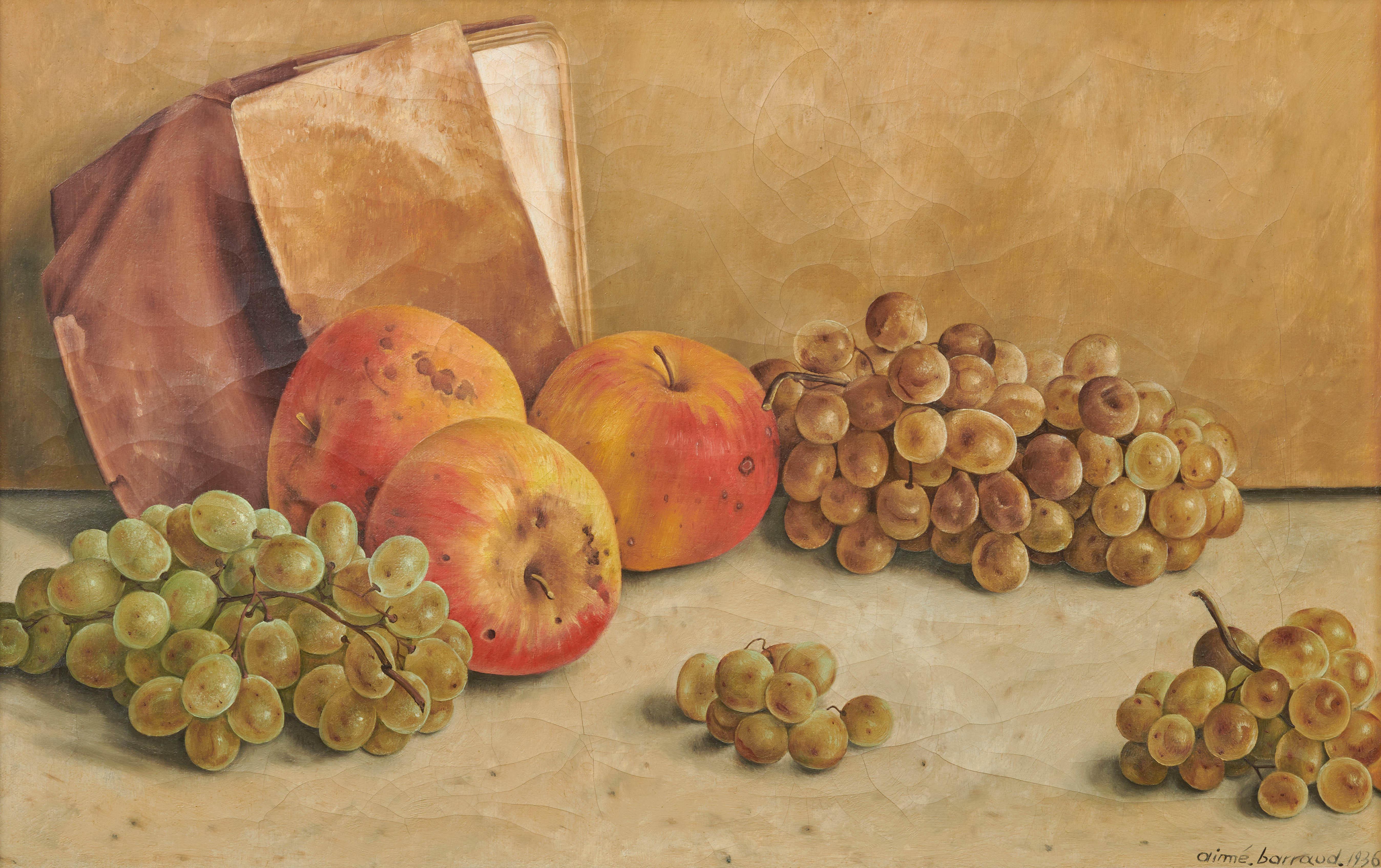 View full screen - View 1 of Lot 89. Nature morte aux pommes et aux raisins, 1936.