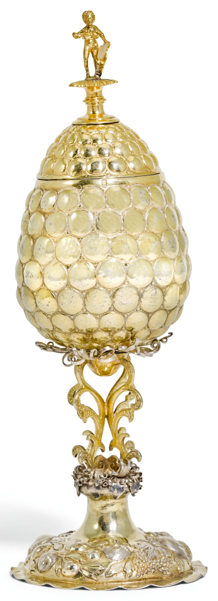 A GERMAN SILVER-GILT FRUIT-SHAPED CUP AND COVER, THE FOOT MARKED FOR CHRISTIAN HORNUNG, AUGSBURG, CIRCA 1680