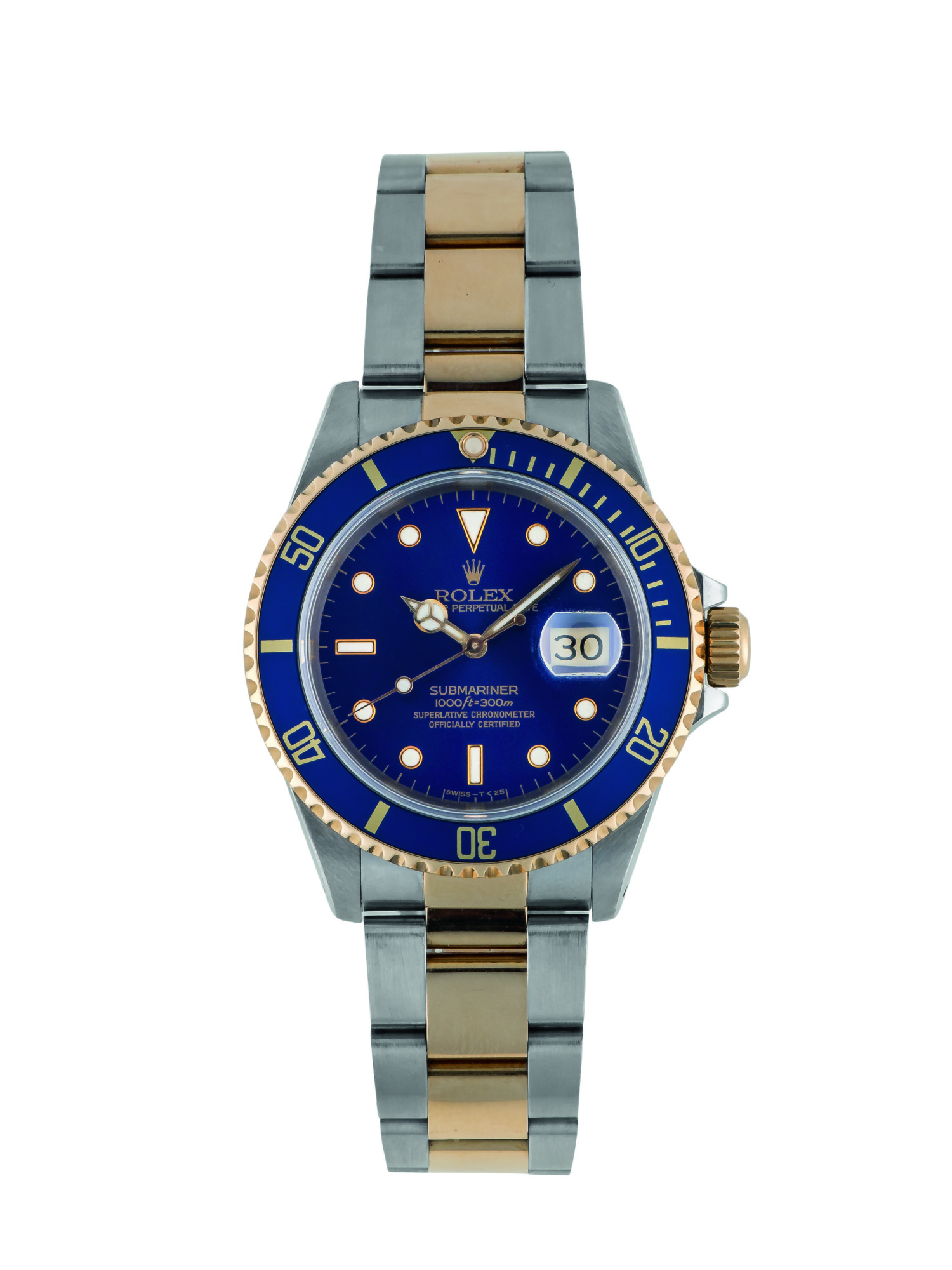 ROLEX   SUBMARINER, REF 16613 STAINLESS STEEL AND YELLOW GOLD WRISTWATCH WITH DATE AND BRACELET CIRCA 1991