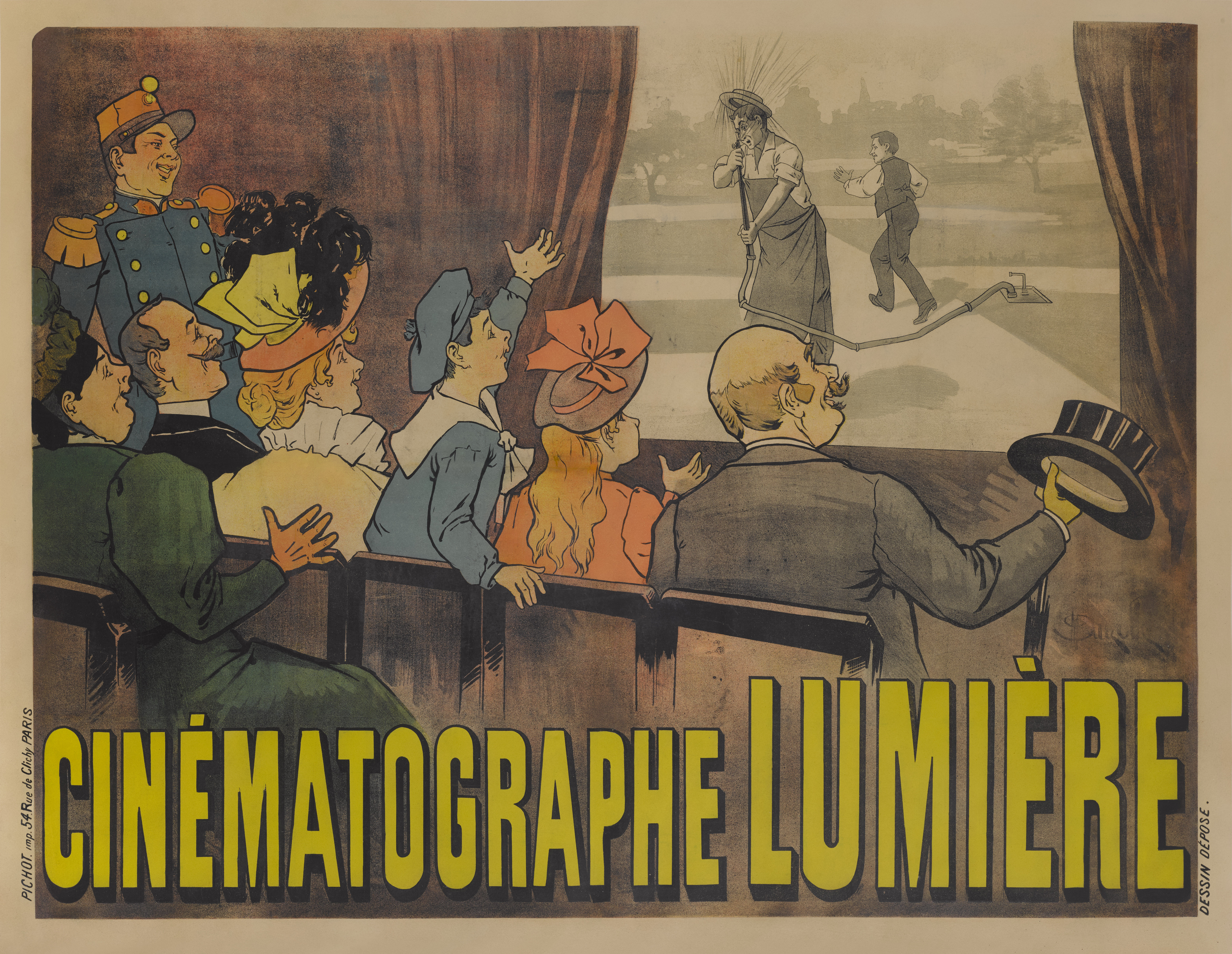View full screen - View 1 of Lot 40. Cinématographe Lumière (1895) Poster, French  .