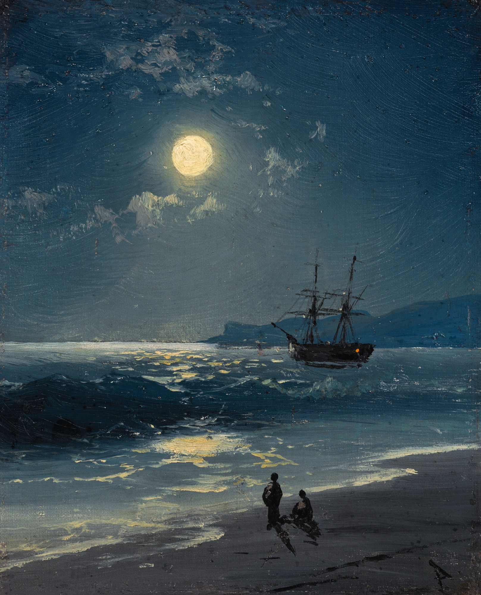IVAN KONSTANTINOVICH AIVAZOVSKY | SAILING SHIP ON A CALM SEA BY MOONLIGHT