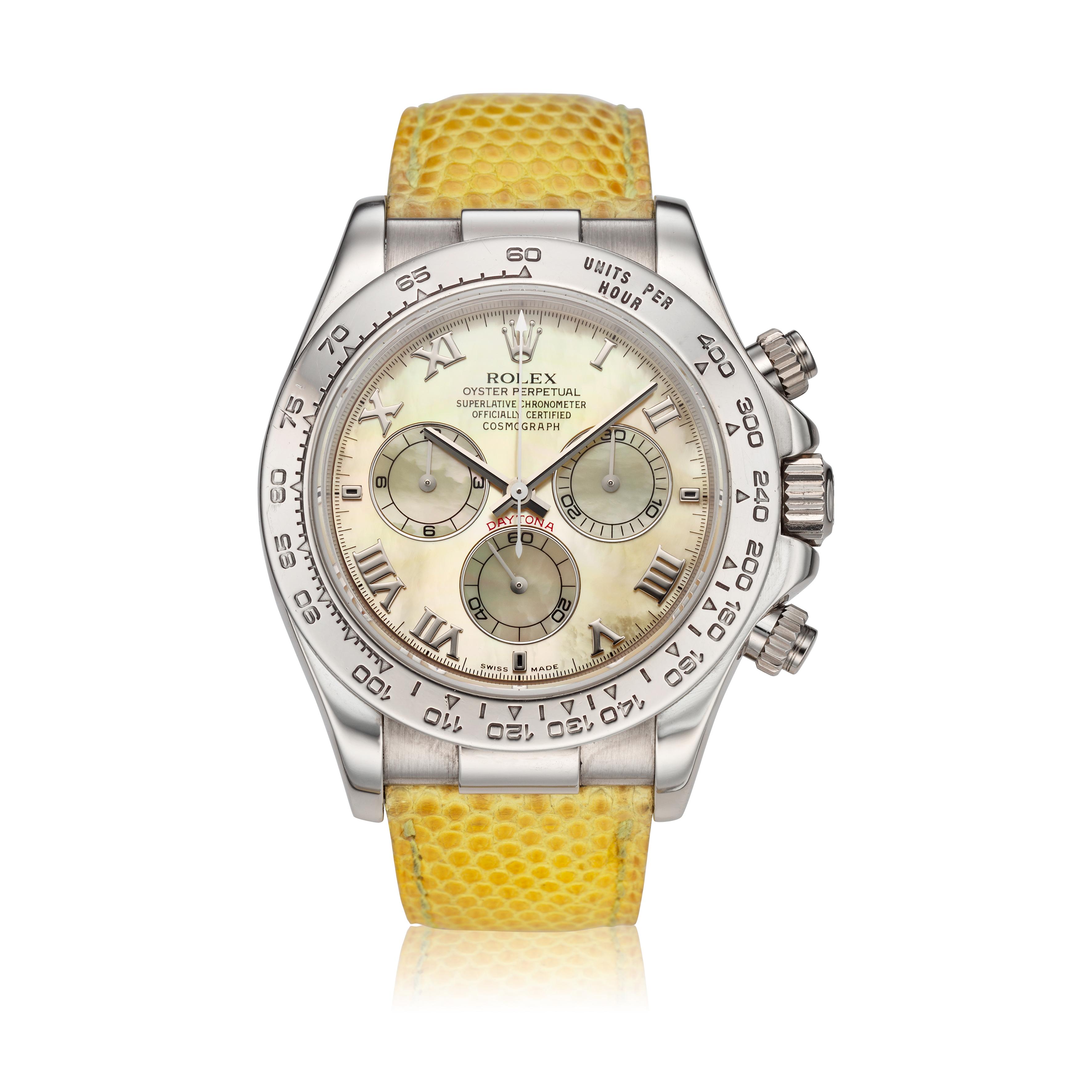 View full screen - View 1 of Lot 209. Reference 116519 'Daytona Beach'  A white gold automatic chronograph wristwatch, Circa 2000.