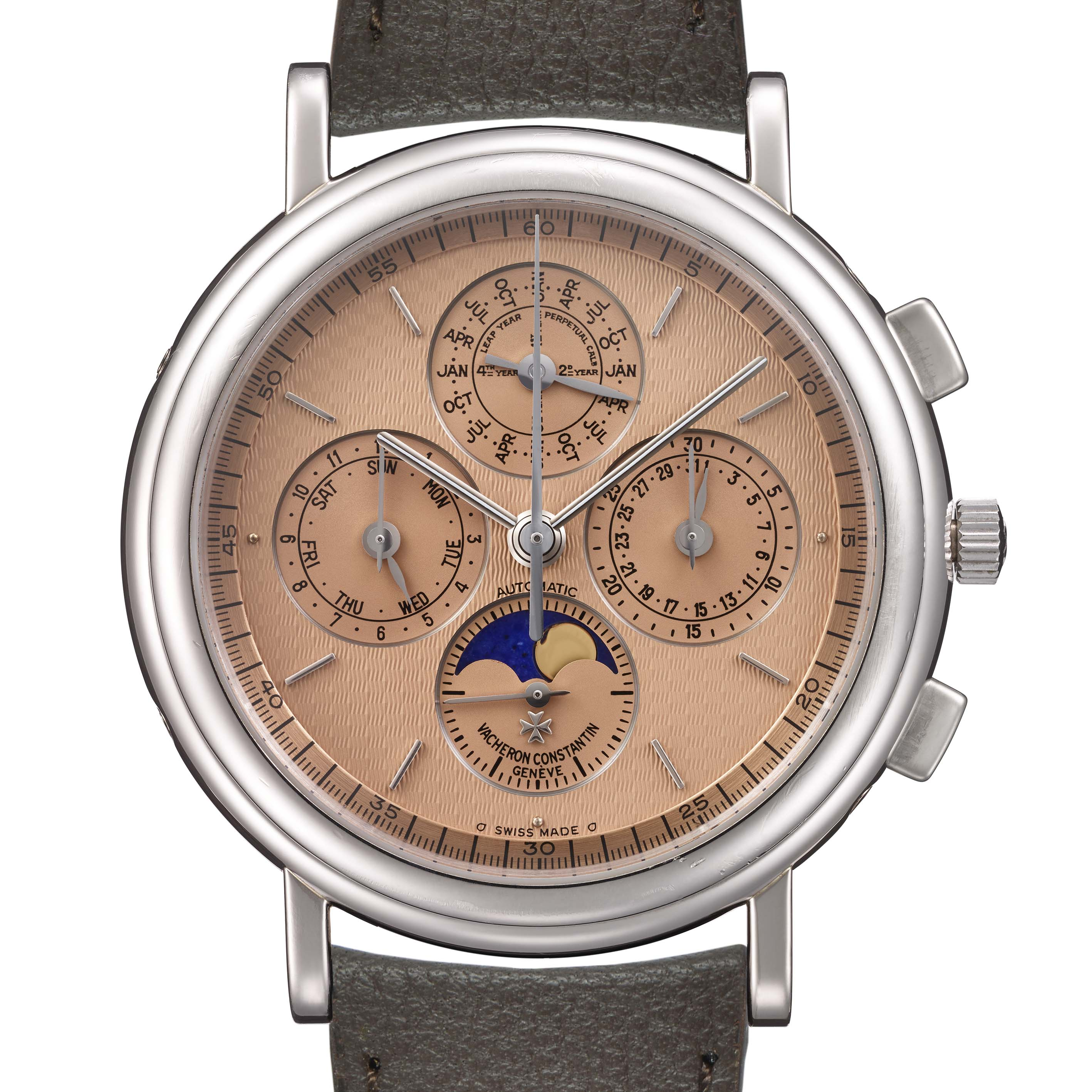 VACHERON CONSTANTIN | PLATINUM, CHRONOGRAPH, PERPETUAL CALENDAR WITH MOON-PHASES INDICATIONS, AUTOMATIC GENTLEMAN'S WRISTWATCH, REF 49005/000P